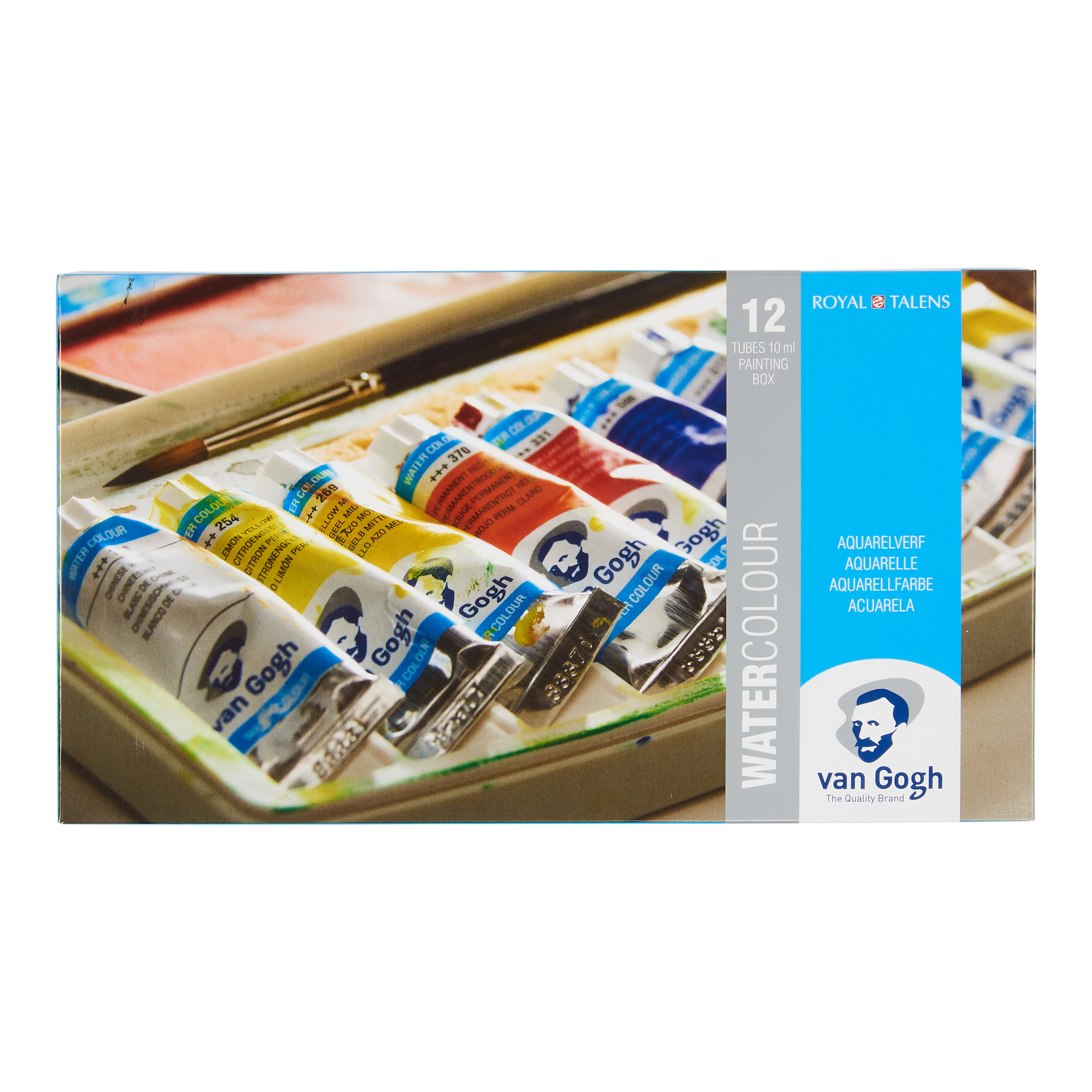 Van Gogh Water Colour Plastic Case Set with 12 Colours in 10ml Tube