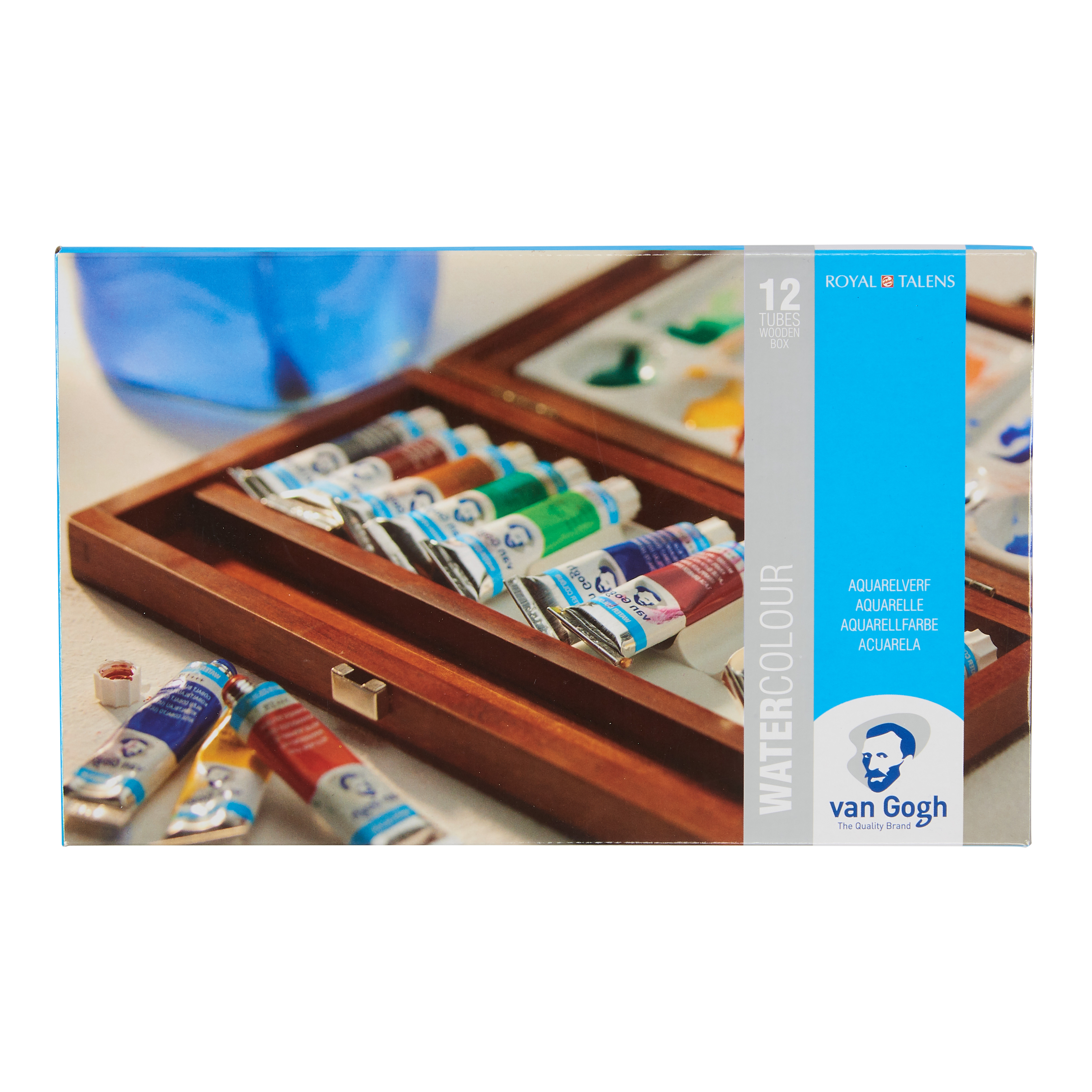Van Gogh Water Colour Wooden Box Set with 12 Colours in 10ml Tube + 3 Accessories