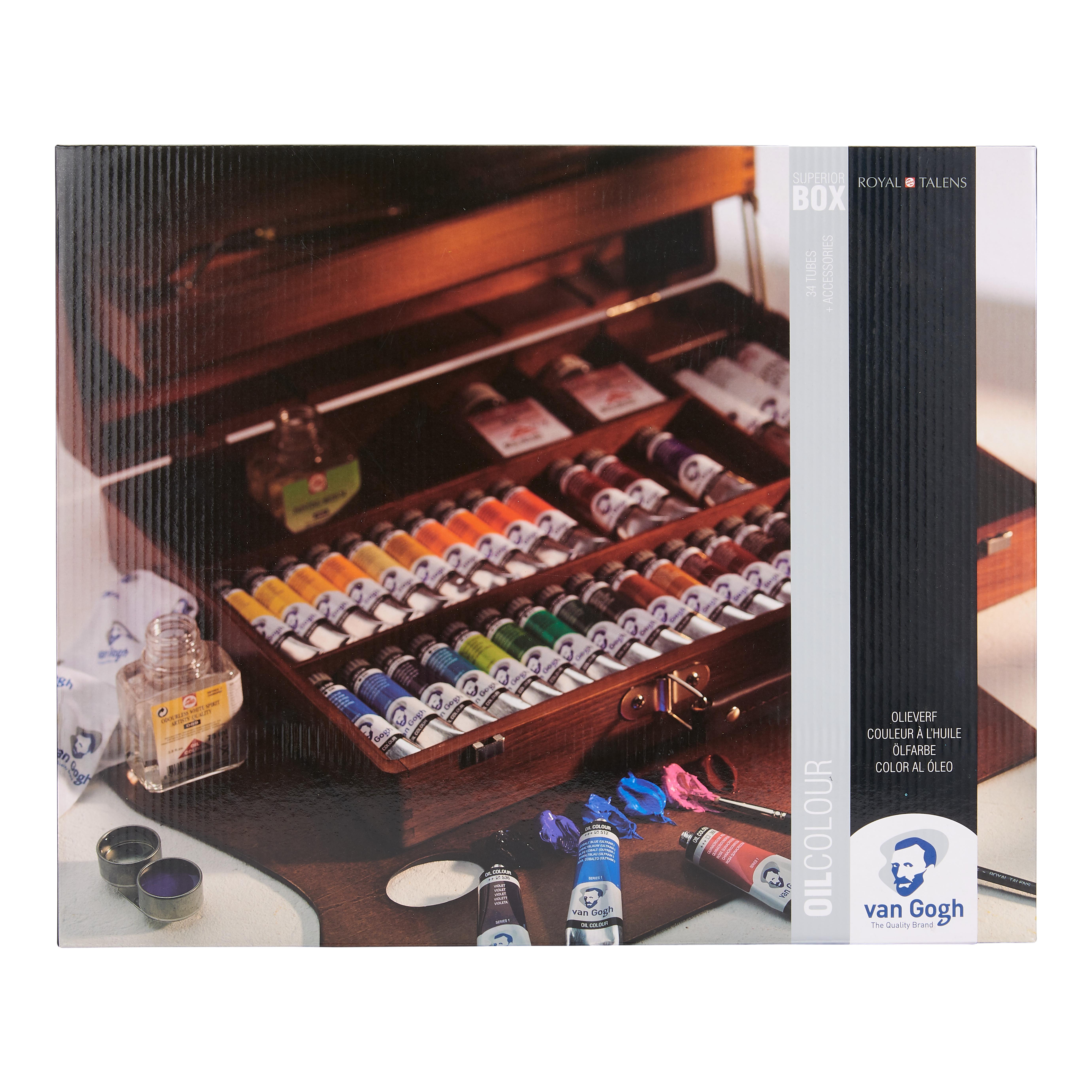 Van Gogh Oil Colour Wooden Box Set Superior with 32 Colours in 20ml Tube and 2 colours in 60ml Tube + Accessories