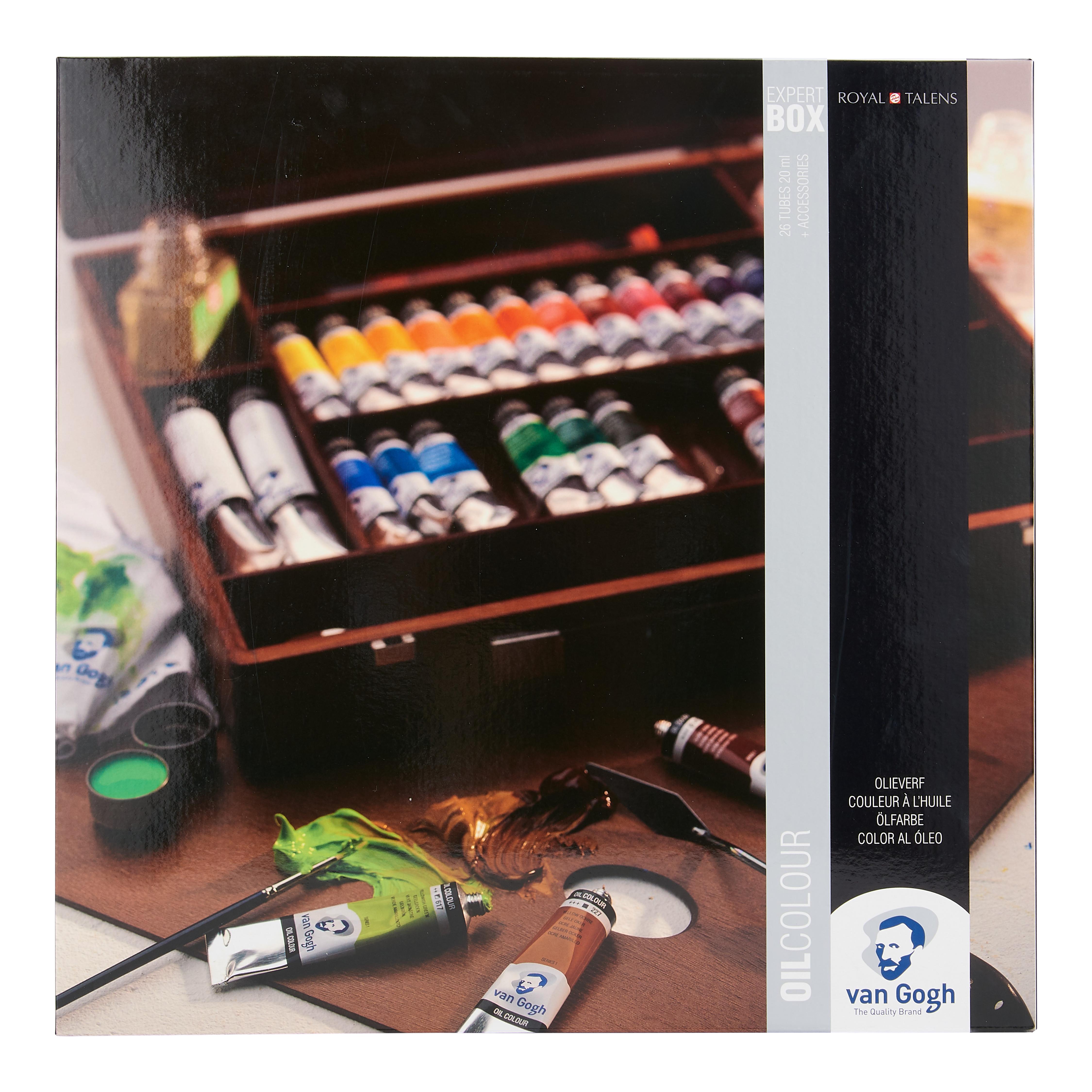Van Gogh Oil Colour Wooden Box Set Expert with 24 Colours in 20ml Tube and 2 Colours in 60ml Tube + Accessories