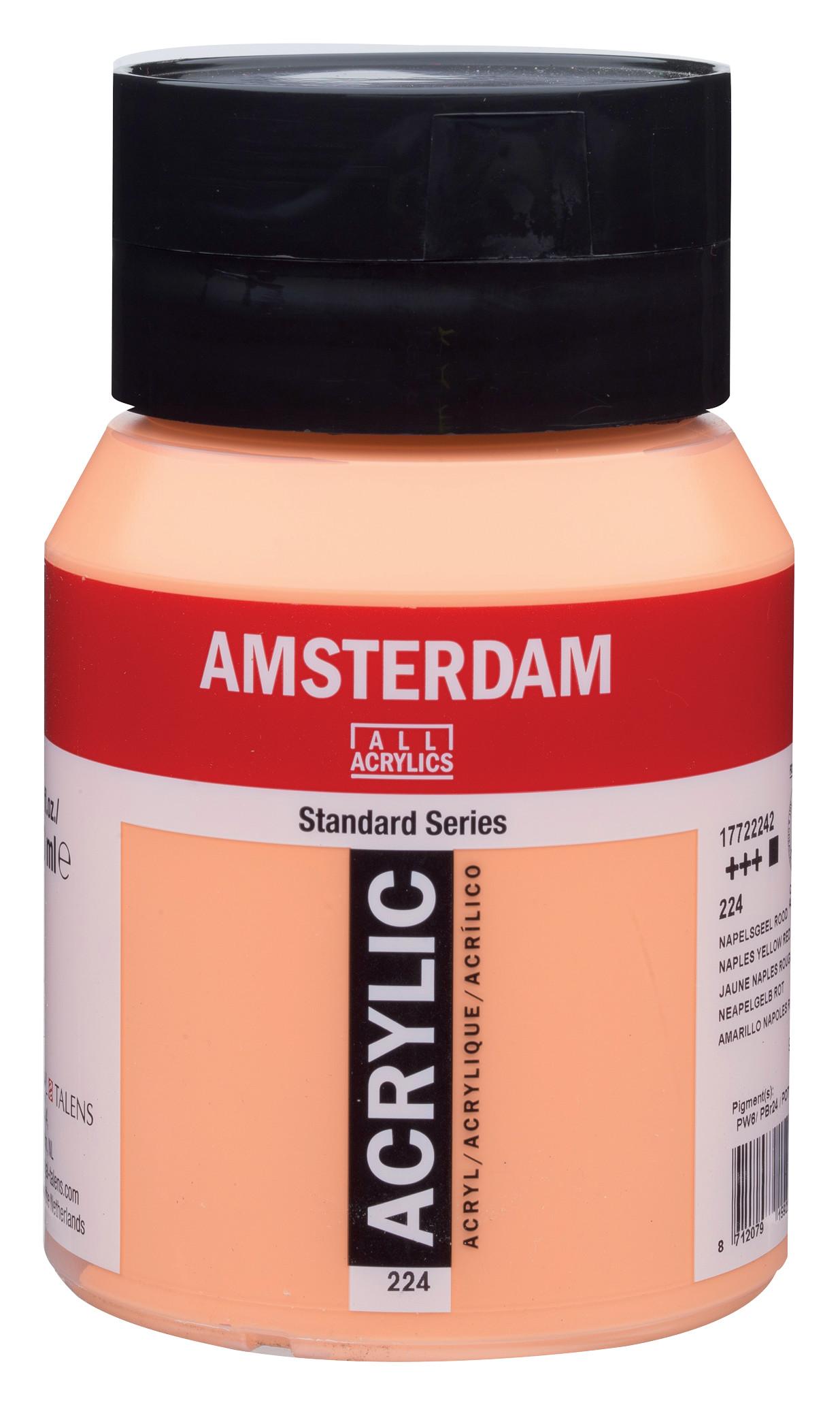 Amsterdam Standard Series Acrylic Jar 500 ml Naples yellow red 224