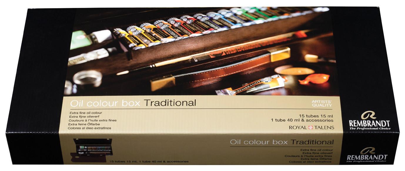 Rembrandt Oil colour Paint Traditional Wood Box Set, 15x15ml Tubes + 1x40ml Tube + 8 Accessories