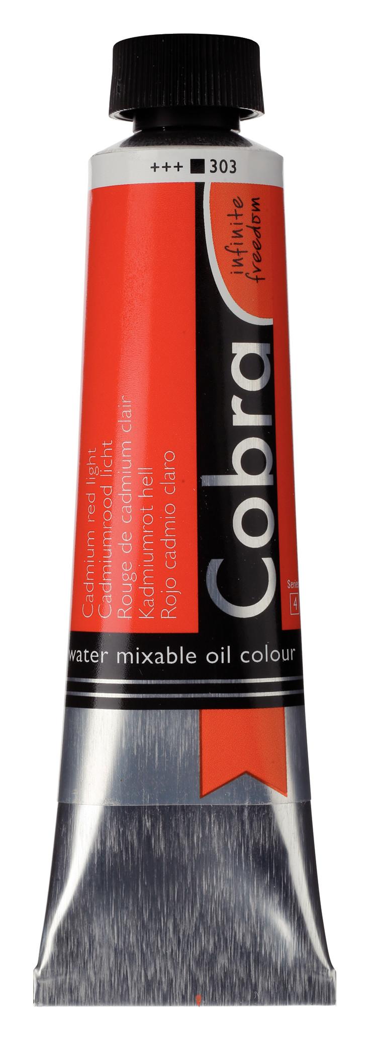 Cobra Artist Water Mixable Oil Colour Tube 40 ml Cadmium red light 303