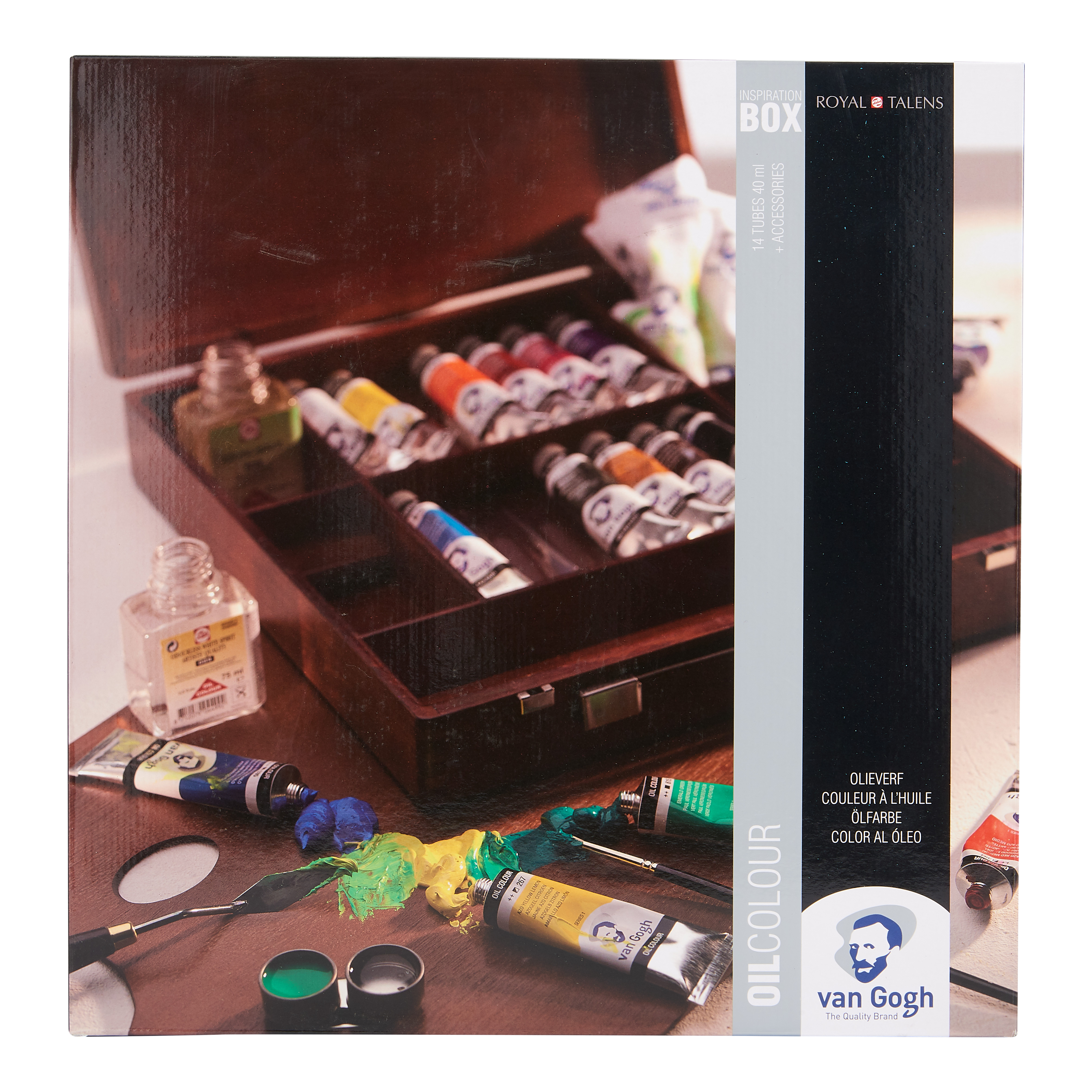 Van Gogh Oil Colour Wooden Box Set Inspiration with 14 Colours in 40ml Tube + Accessories