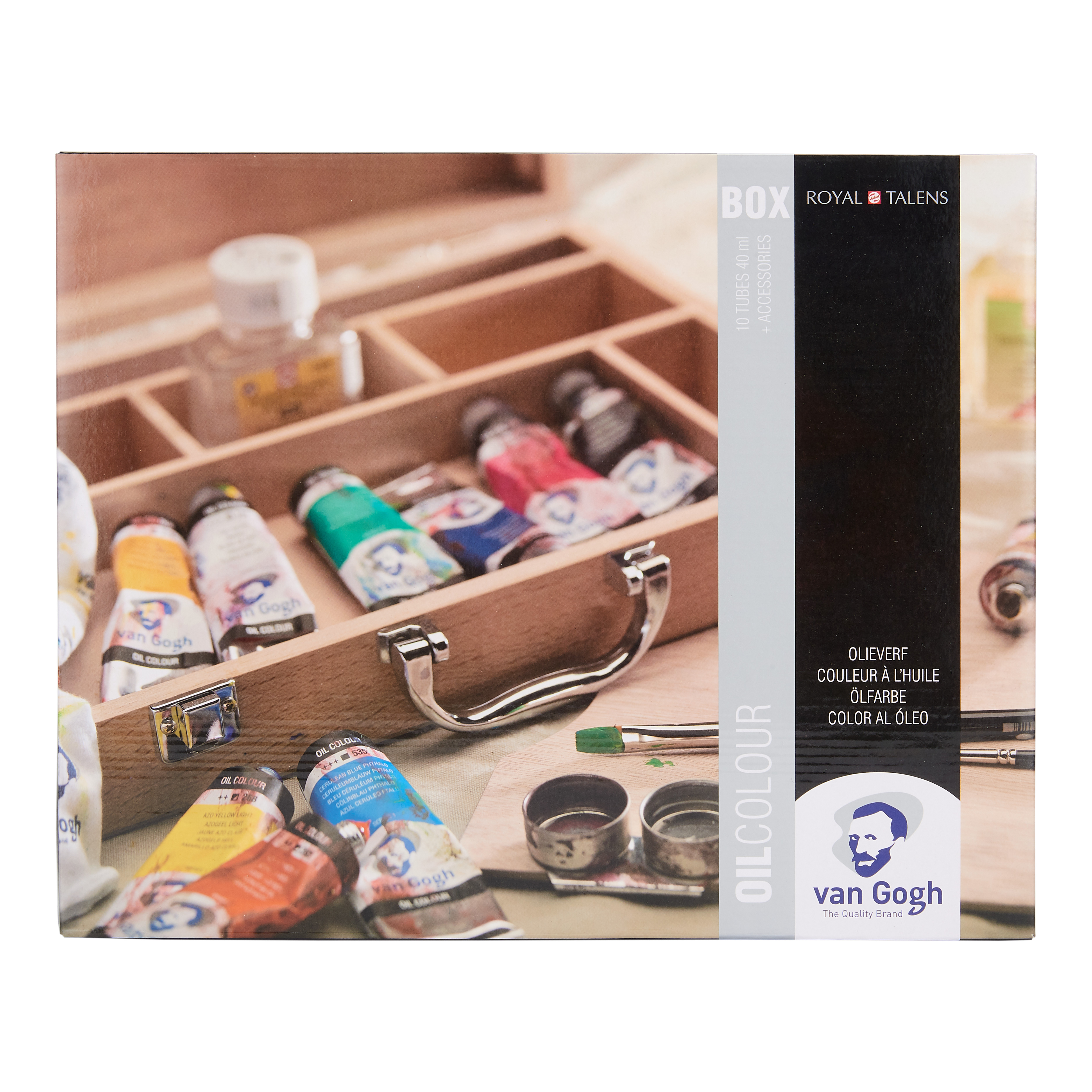 Van Gogh Oil Colour Wooden Box Set Basic with 10 Colours in 40ml Tube + Accessories