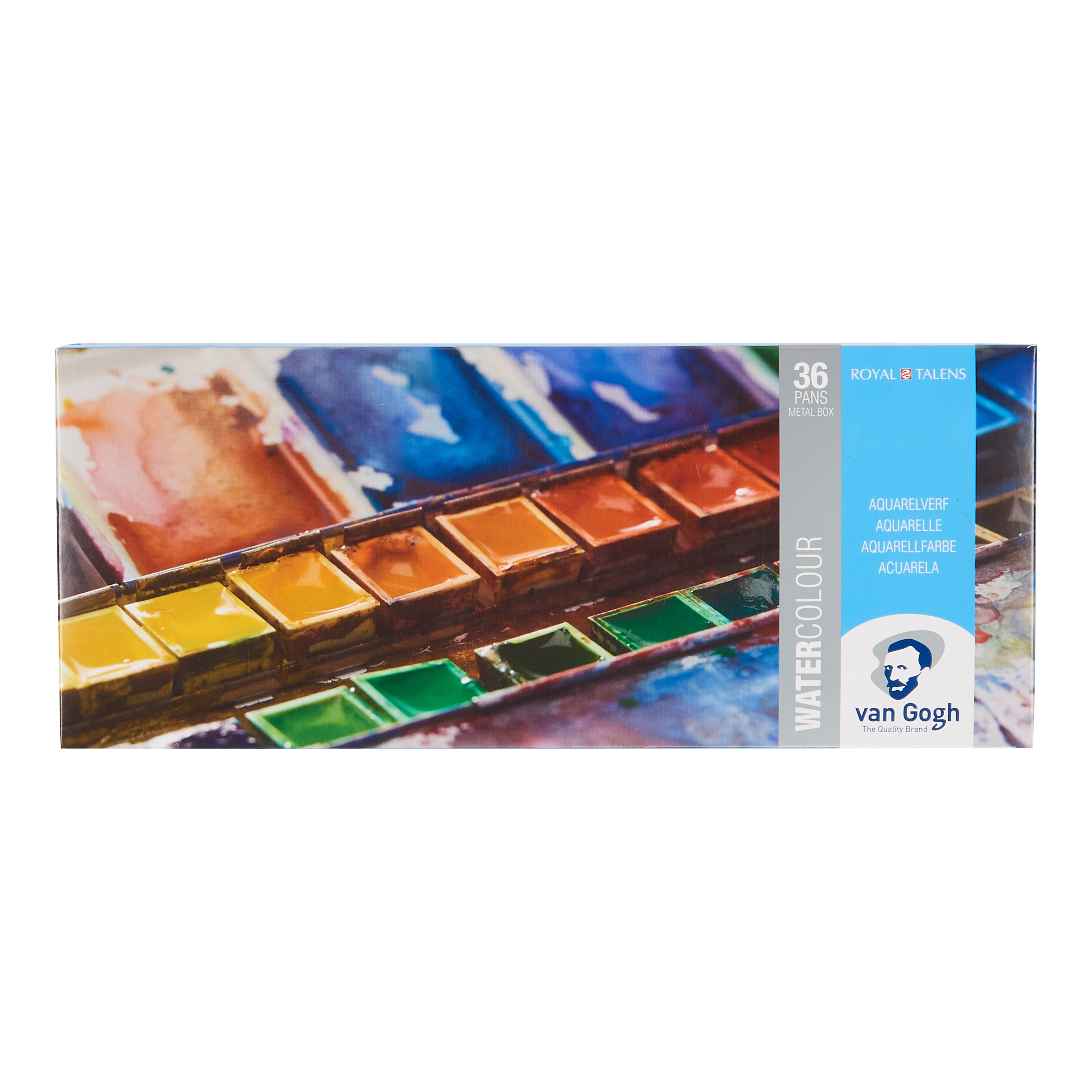 Van Gogh Water Colour Metal Case Set with 36 Colours in Half Pans + 1 Brush