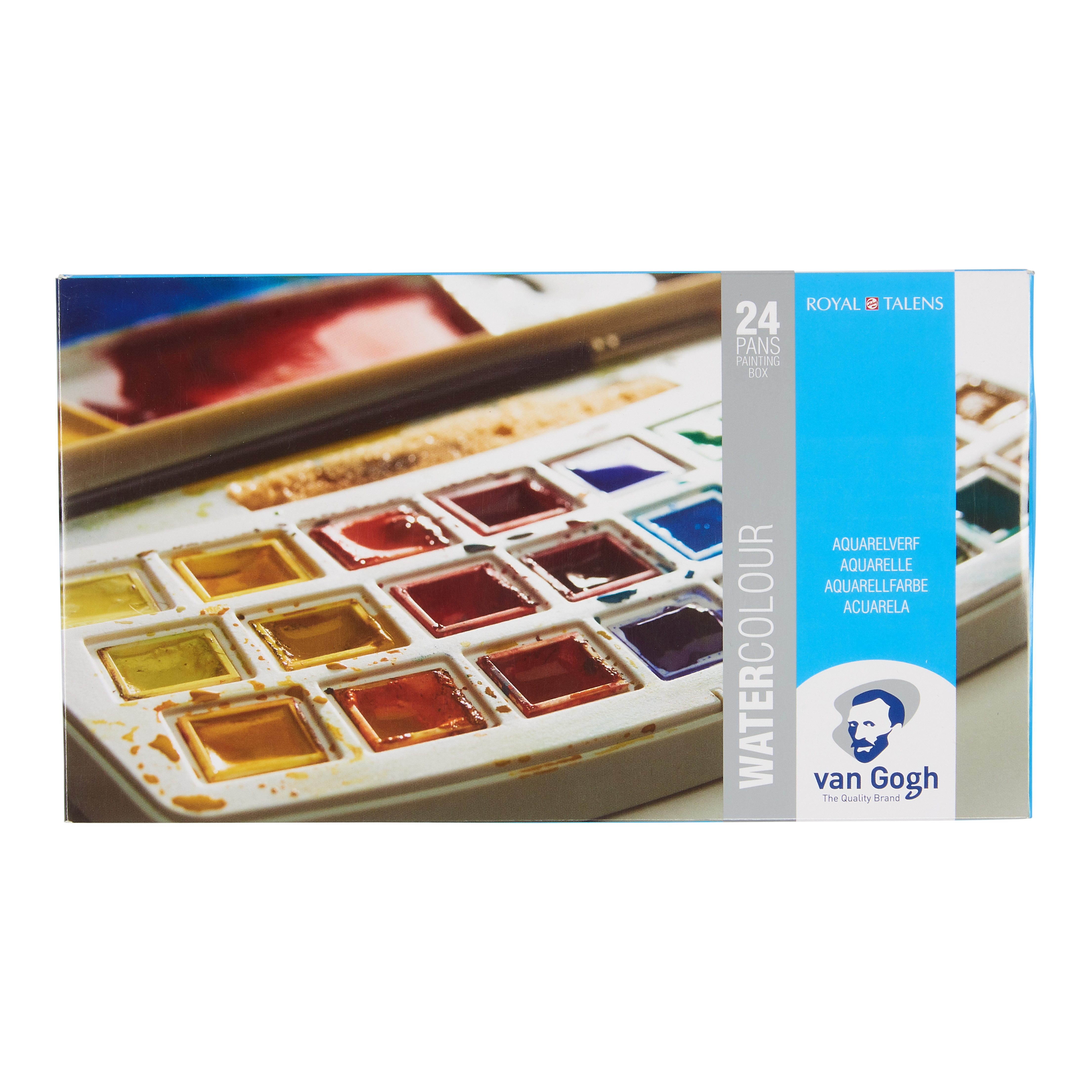 Van Gogh Water Colour Plastic Case Set with 24 Colours in Half Pans