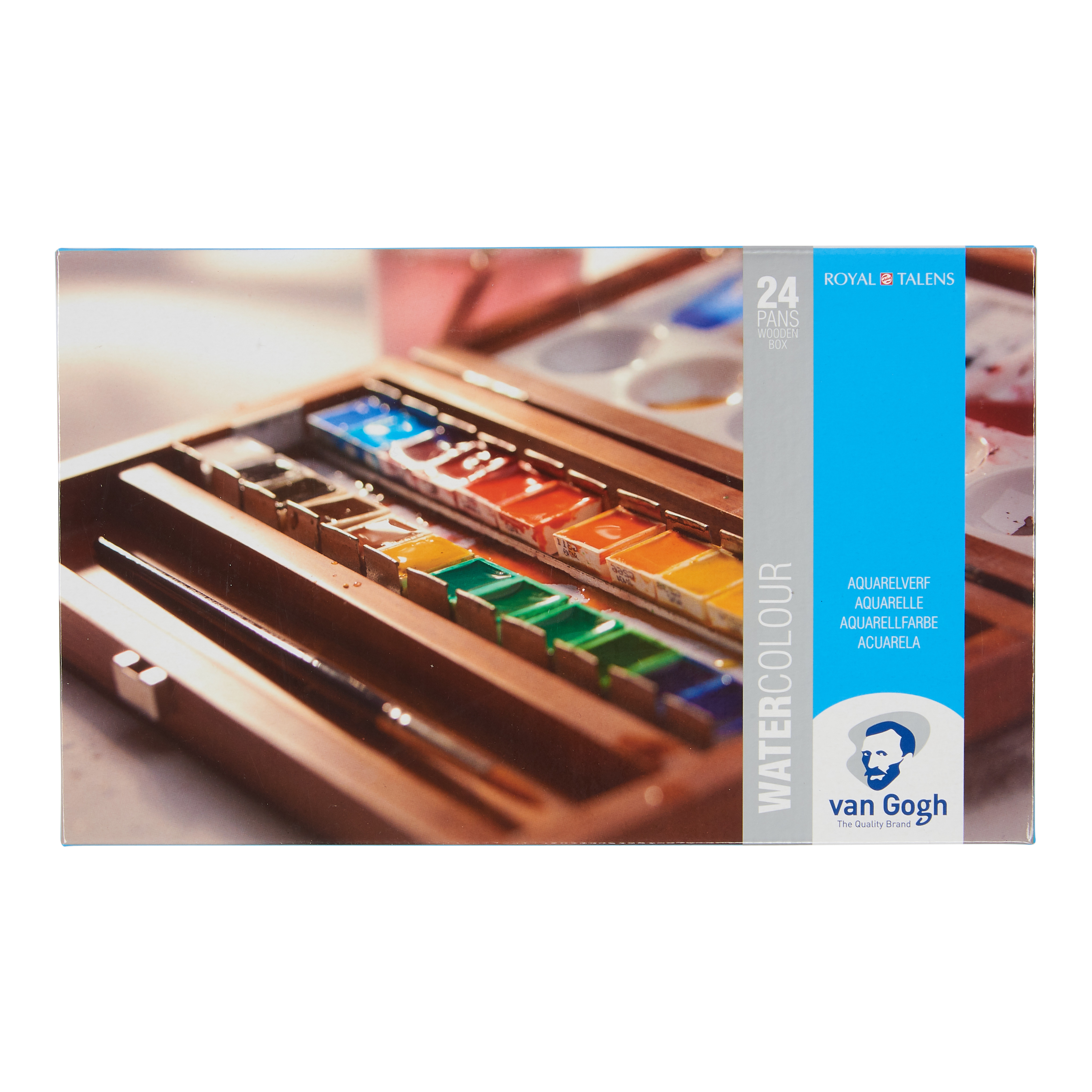 Van Gogh Water Colour Wooden Box Set with 24 Colours in Half Pans + 3 Accessories