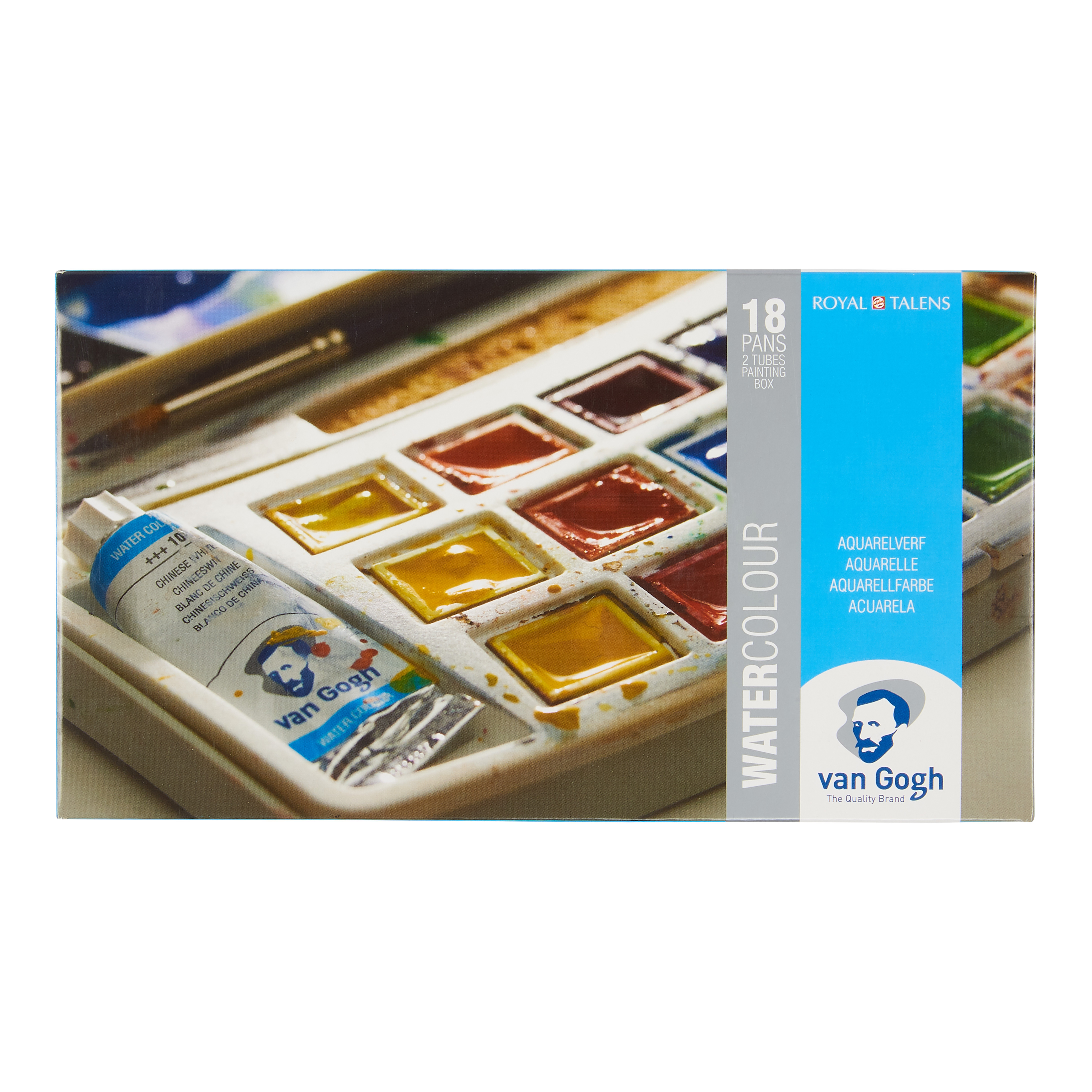 Van Gogh Water Colour Plastic Case Set with 18 Colours in Half Pans and 2 Colours in 10ml Tube