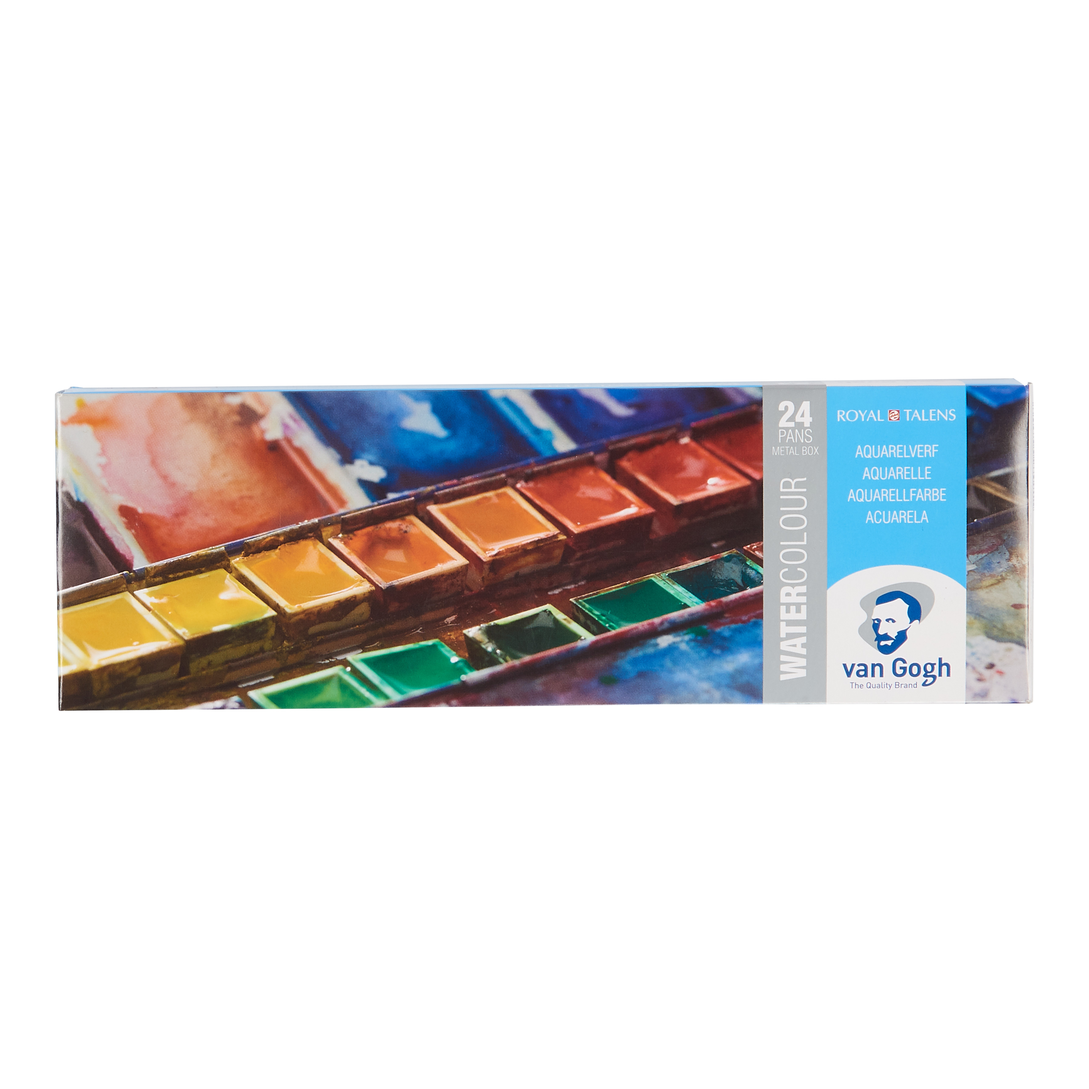 Van Gogh Water Colour Metal Case Set with 24 Colours in Half Pans