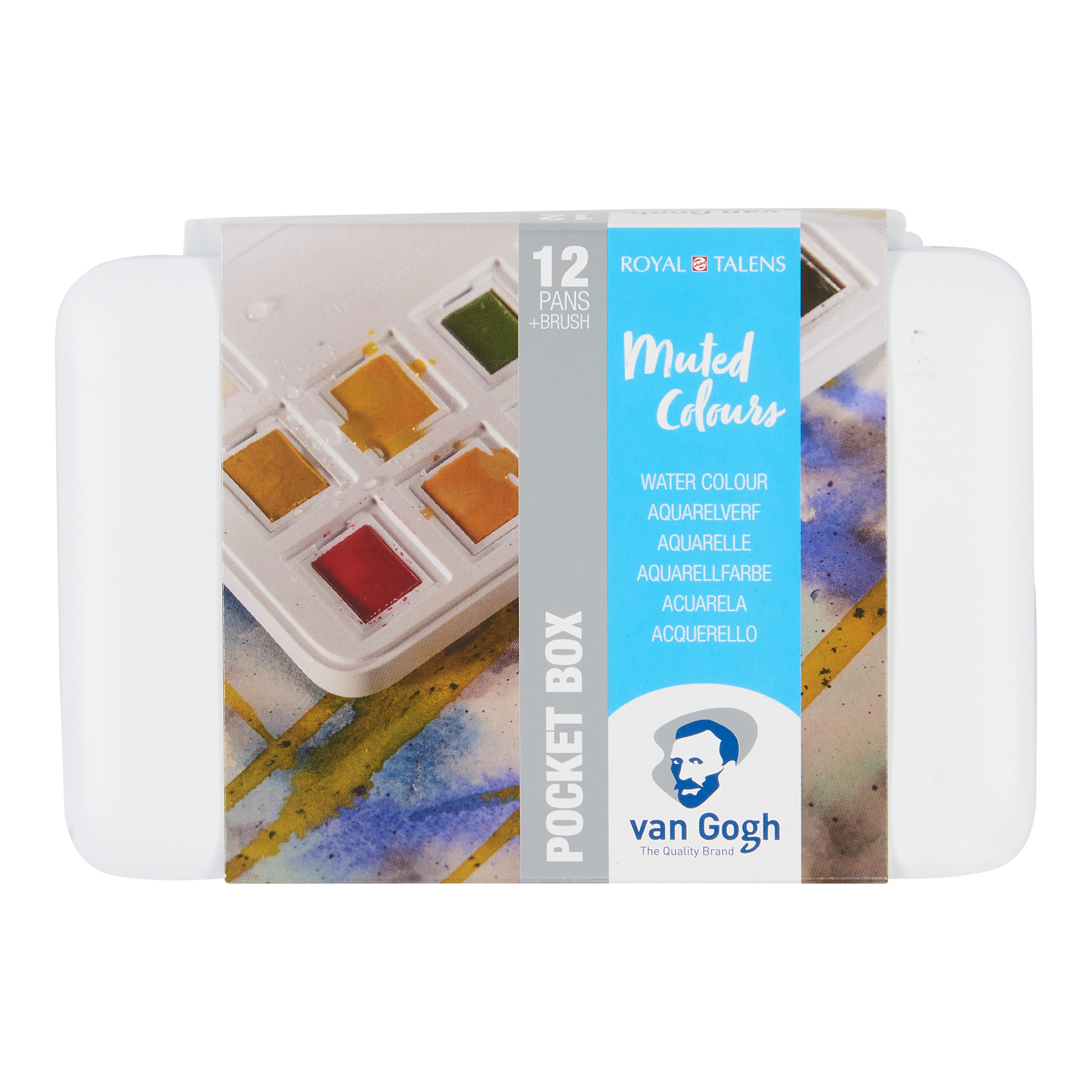 Van Gogh Water Colour Pocket Box Muted Colours with 12 Colours in Half Pans