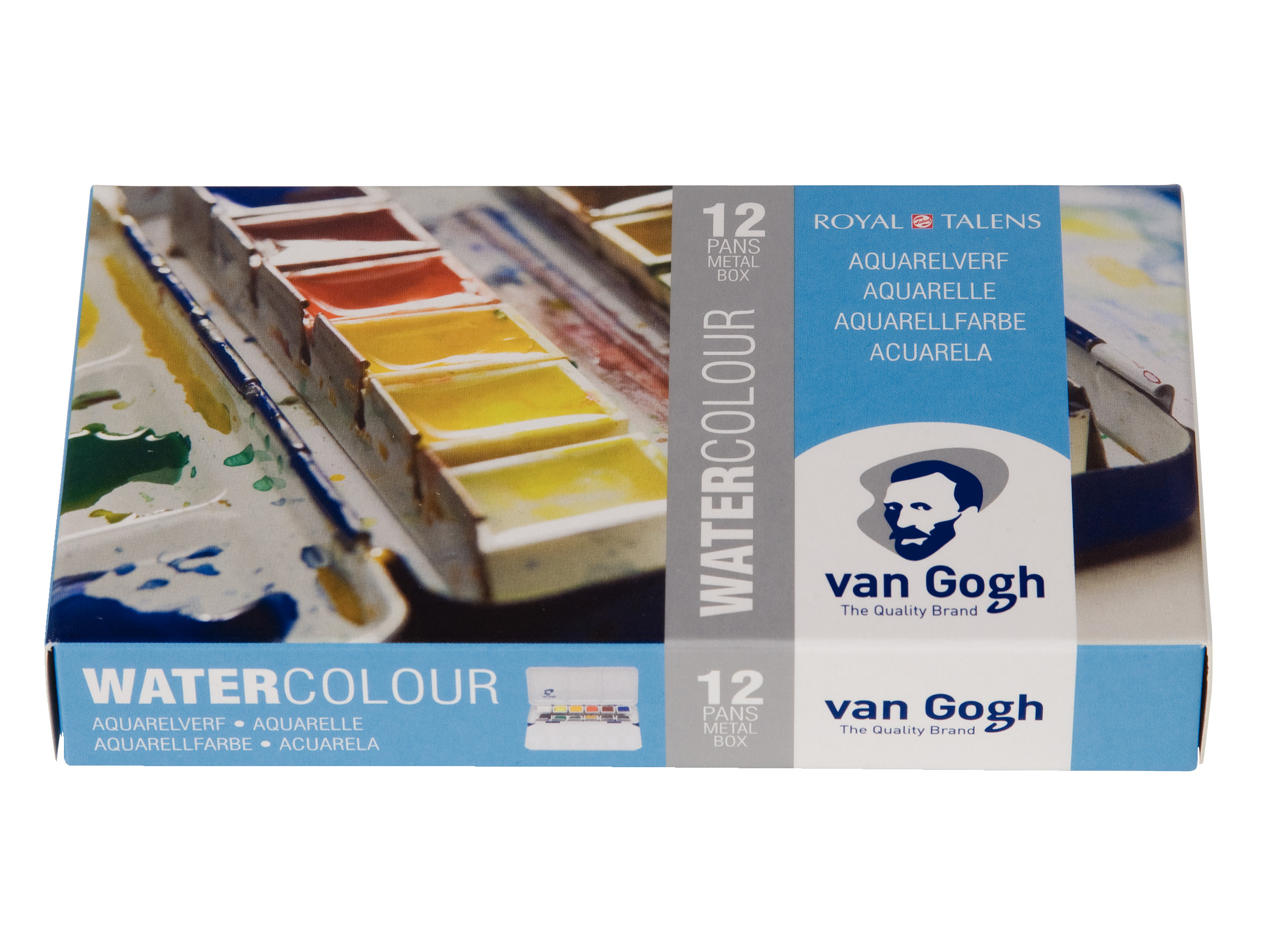 Van Gogh Water Colour Metal Case Set with 12 Colours in Half Pans