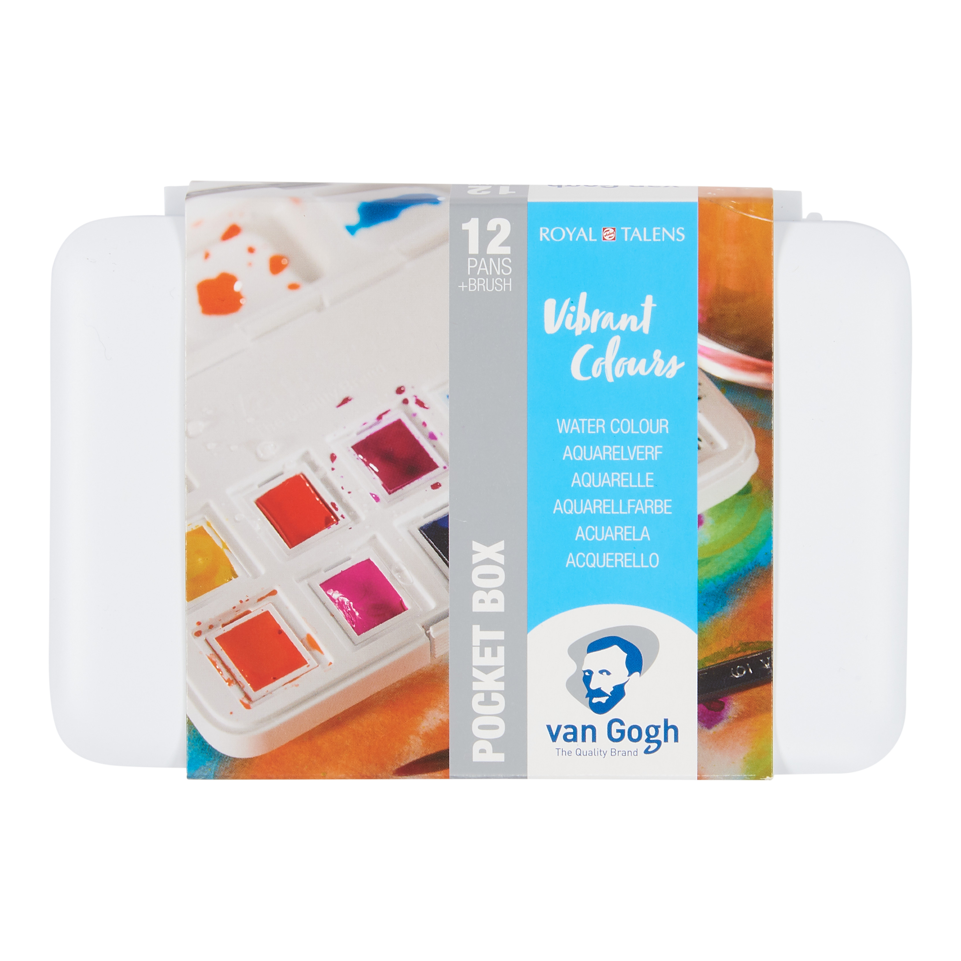 Van Gogh Water Colour Pocket Box Vibrant Colours with 12 Colours in Half Pans