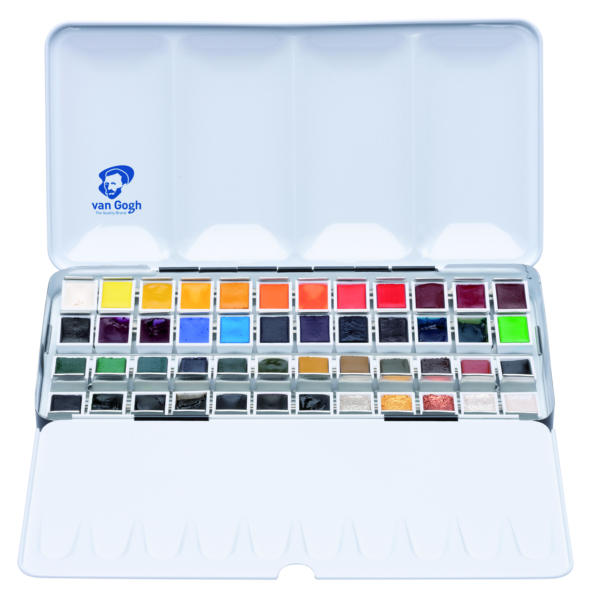Van Gogh Water Colour Paint Metal Case Set with 48 Colours in Half Pan