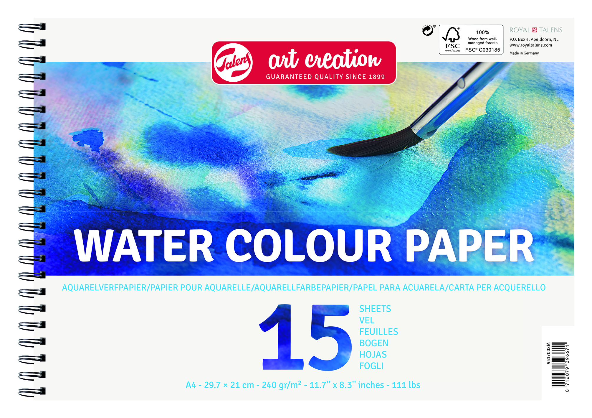 Talens Art Creation Water Colour Paper A4, 250G , 15 Pages