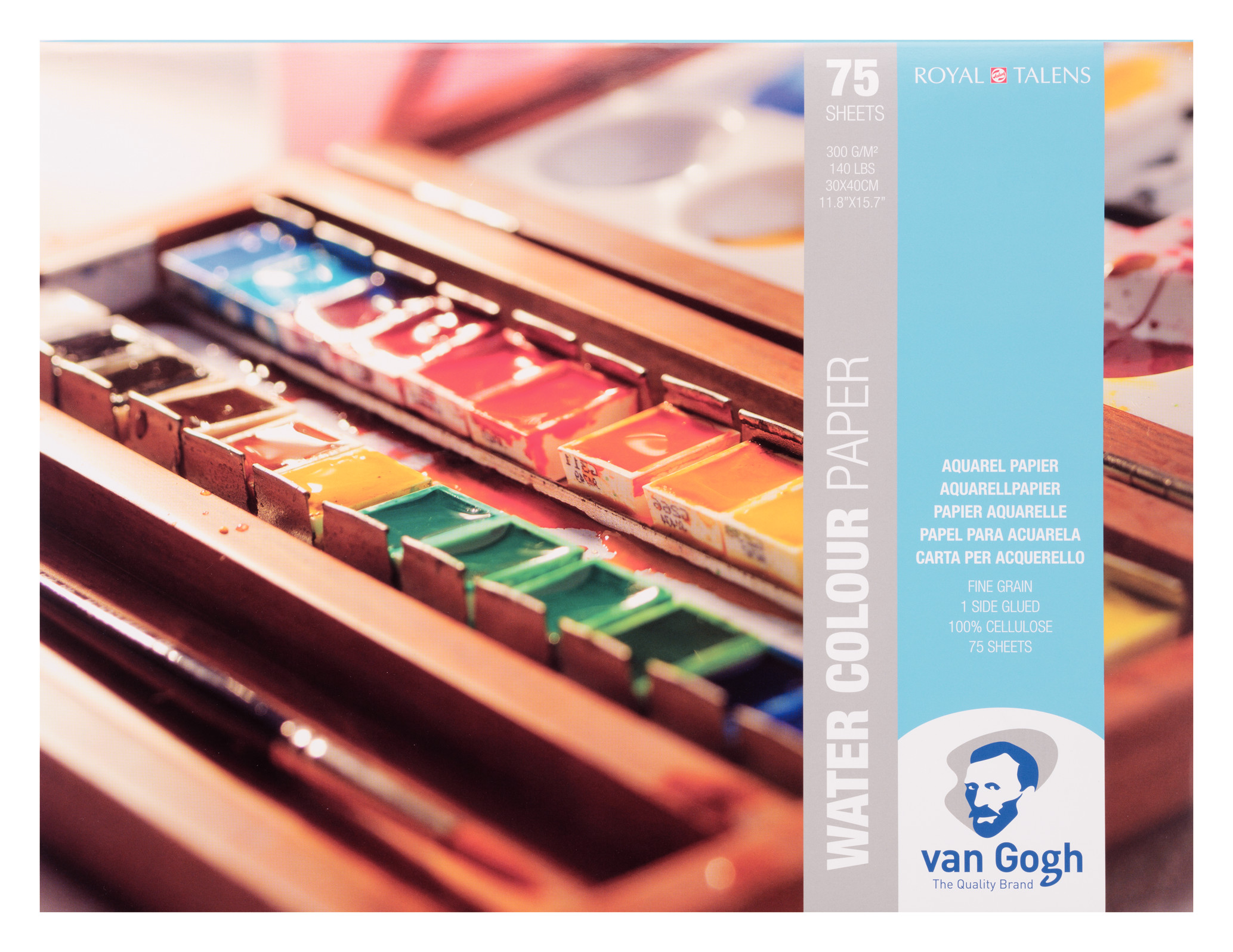 Van Gogh Water Colour Paper Pad, 75 Sheets, 300g/140lb., size 30 x 40cm / 11.8 x 15.7