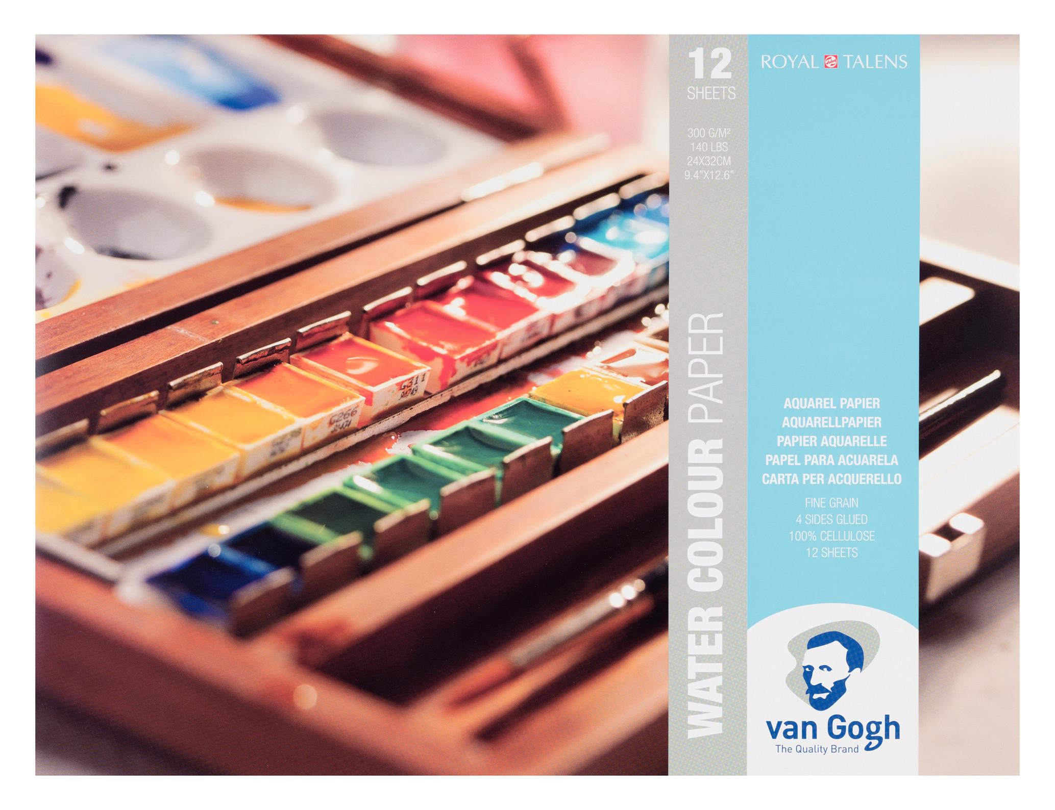 Van Gogh Water Colour Paper Block, 12 Sheets, 300g/140lb., size 24 x 32cm / 9.4 x 12.6