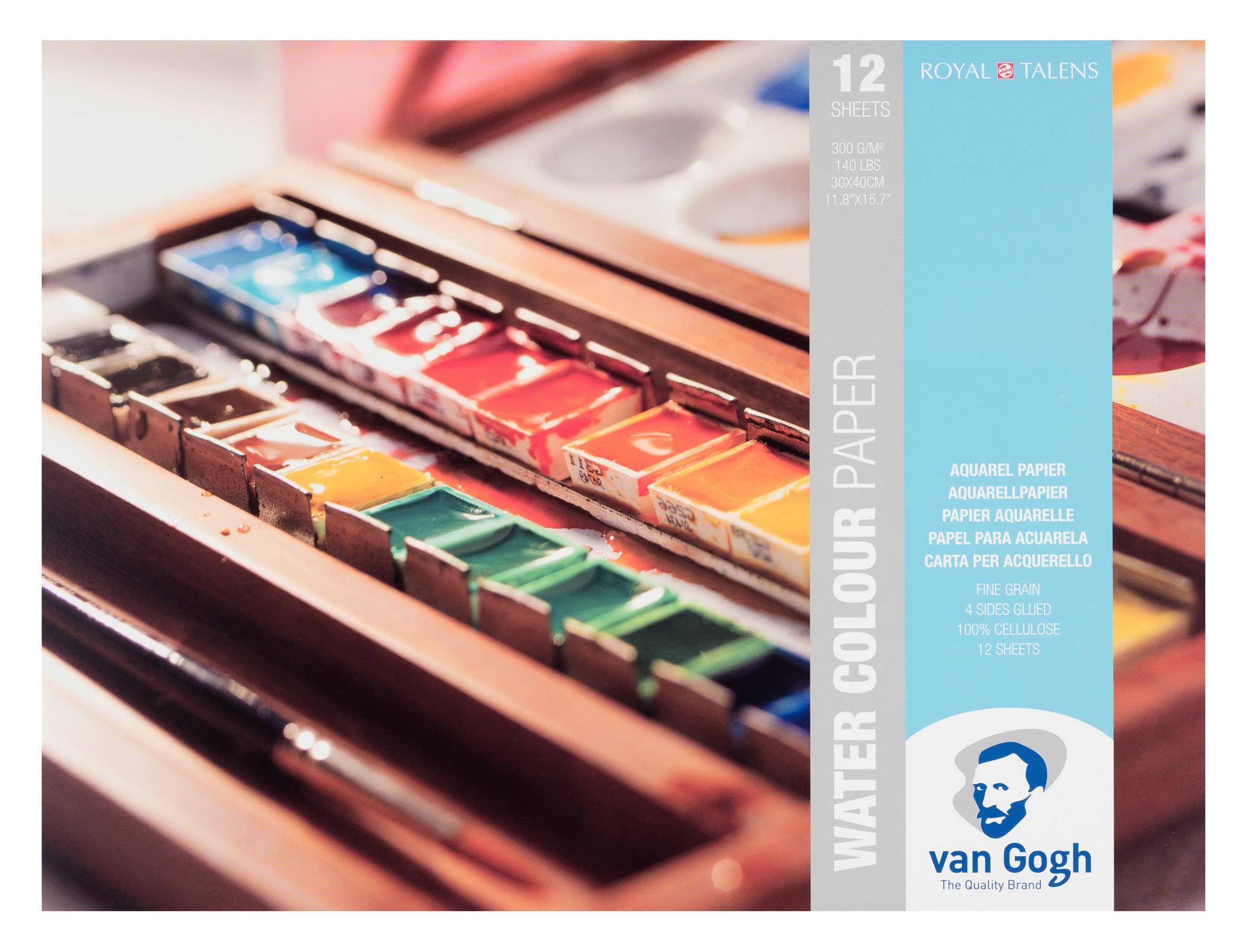 Van Gogh Water Colour Paper Block, 12 Sheets, 300g/140lb., size 30 x 40cm / 11.8 x 15.7