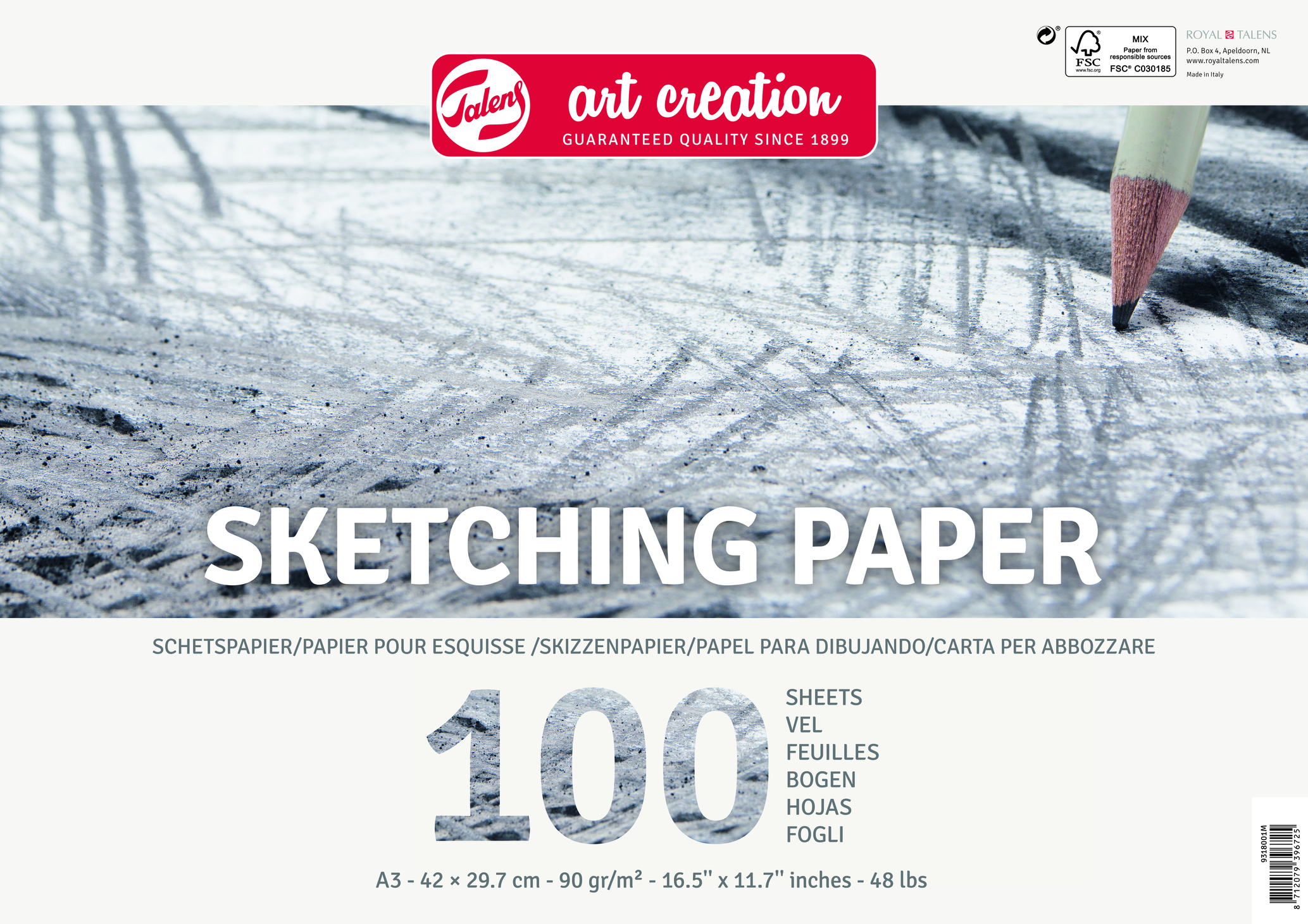 Talens Art Creation Sketch Paper A3, 90G, 100 Pages