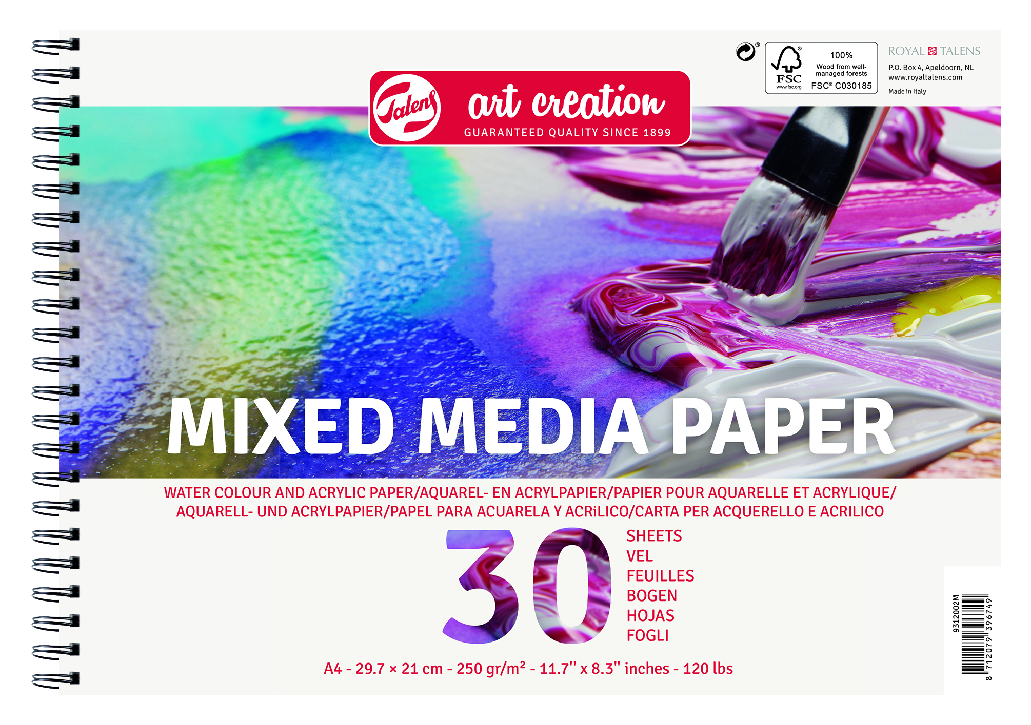 Talens Art Creation Mix Media Paper A4, 250G, 30 Pages