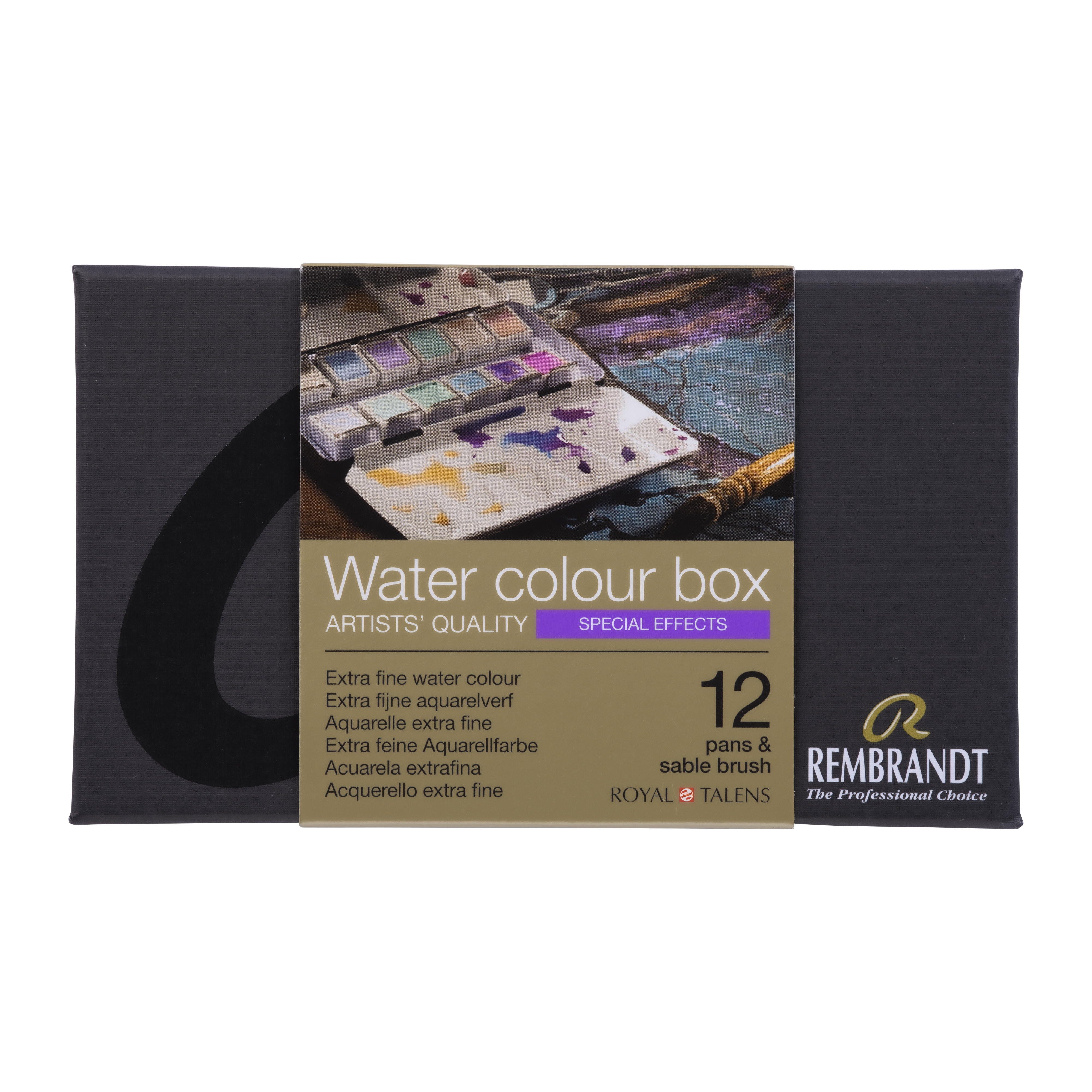 Rembrandt Professional Watercolour Paint, Metal Tin Set, 12 Pans + 1 Brush, Special Effects colour Selection (Interference, Chameleon, Spark)