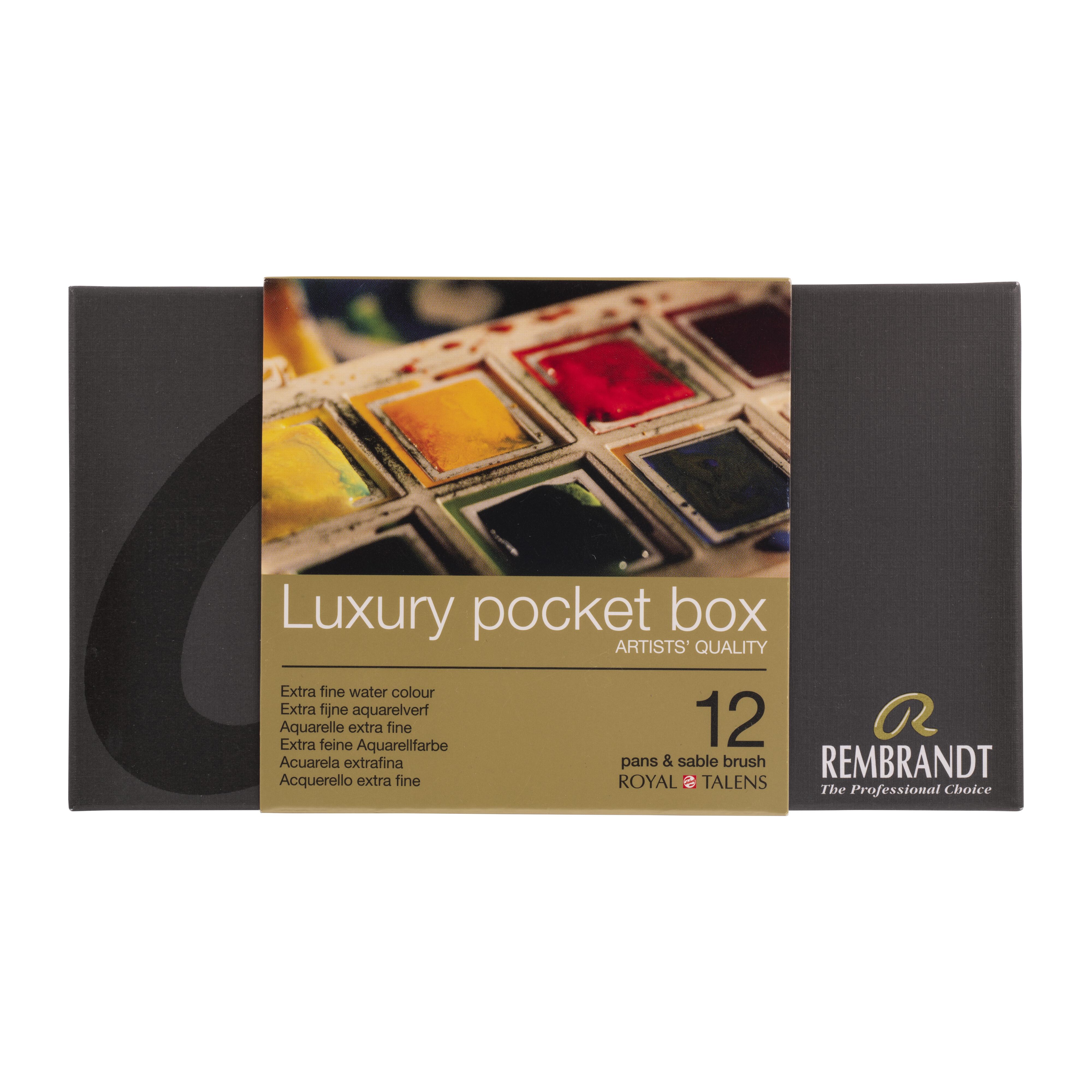 Rembrandt Professional Watercolour Paint, Plastic Pocketbox Set, 12 Half Pans + 1 Brush, General colour Selection