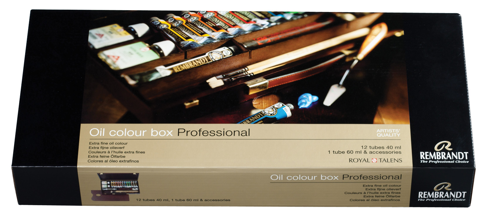 Rembrandt Oil colour Paint Professional Wood Box Set, 12x40ml Tubes + 1x60ml Tube + 11 Accessories