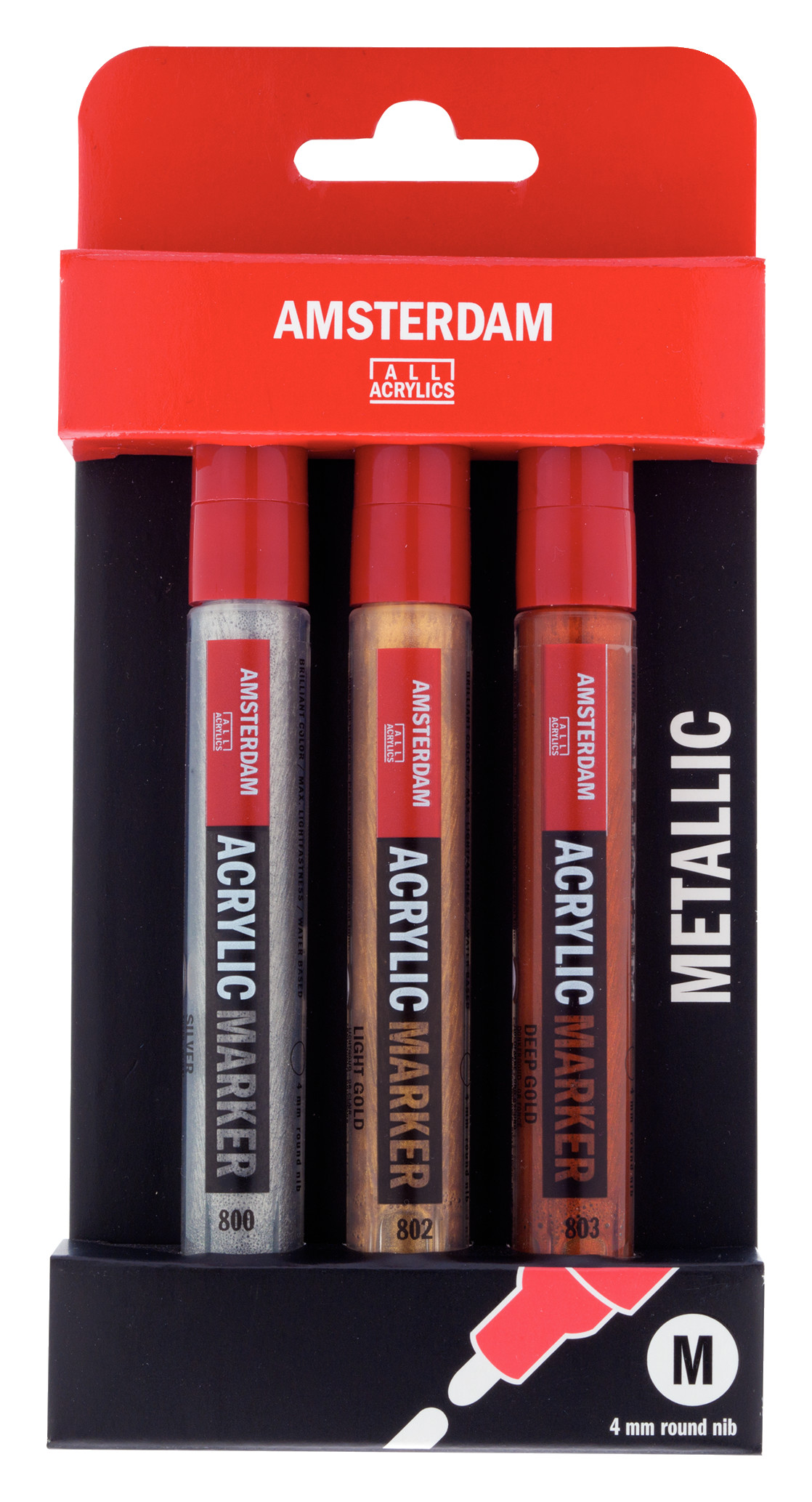 Amsterdam Acrylic Markers Metallic Set - 3 x Medium - 4 mm Nib