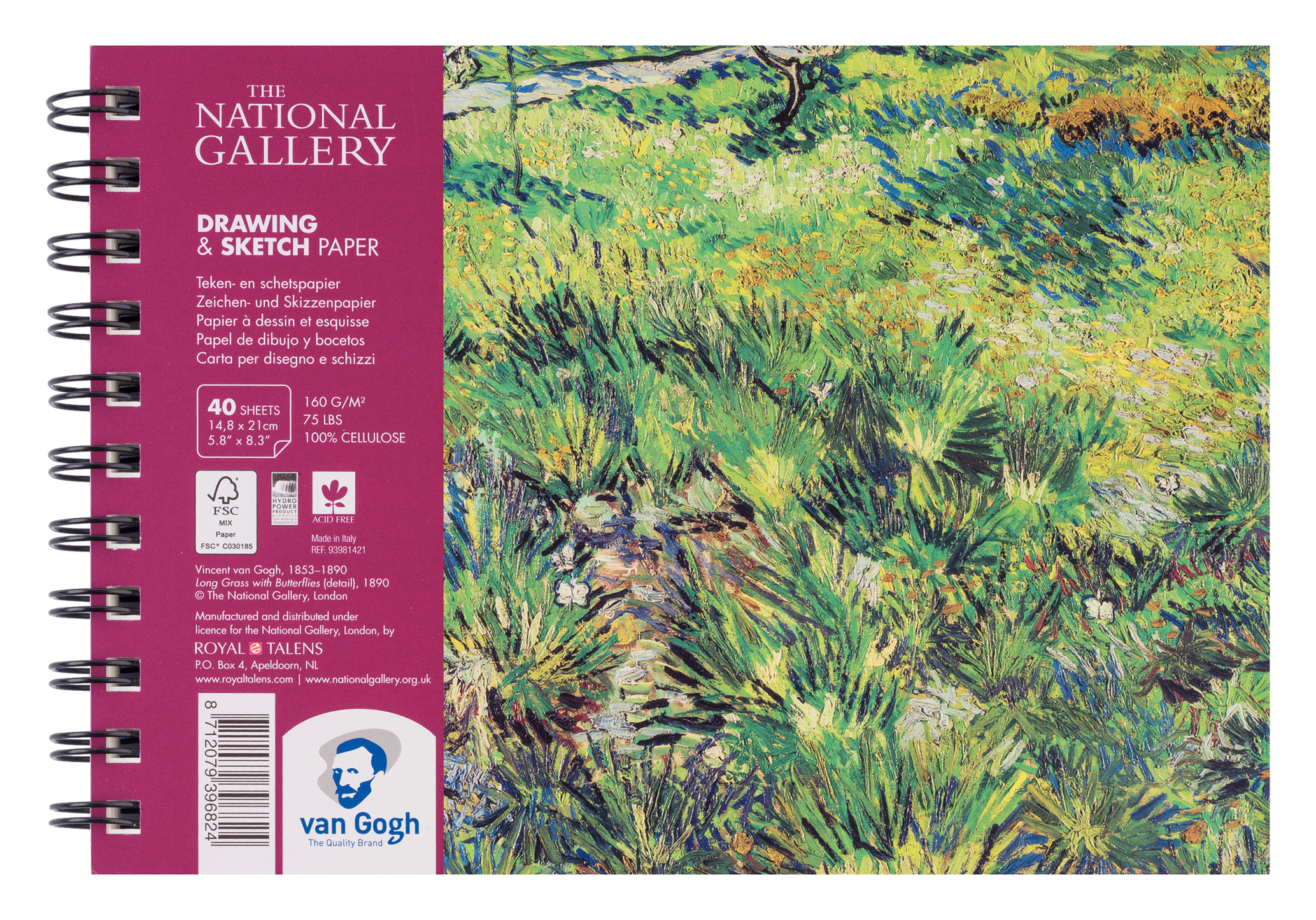 Van Gogh The National Gallery Drawing & Sketch Paper Spiral Bound Pad, 40 Sheets, 160g/75lb., size 21 x 14,8cm (A5) / 5.8 x 8.3