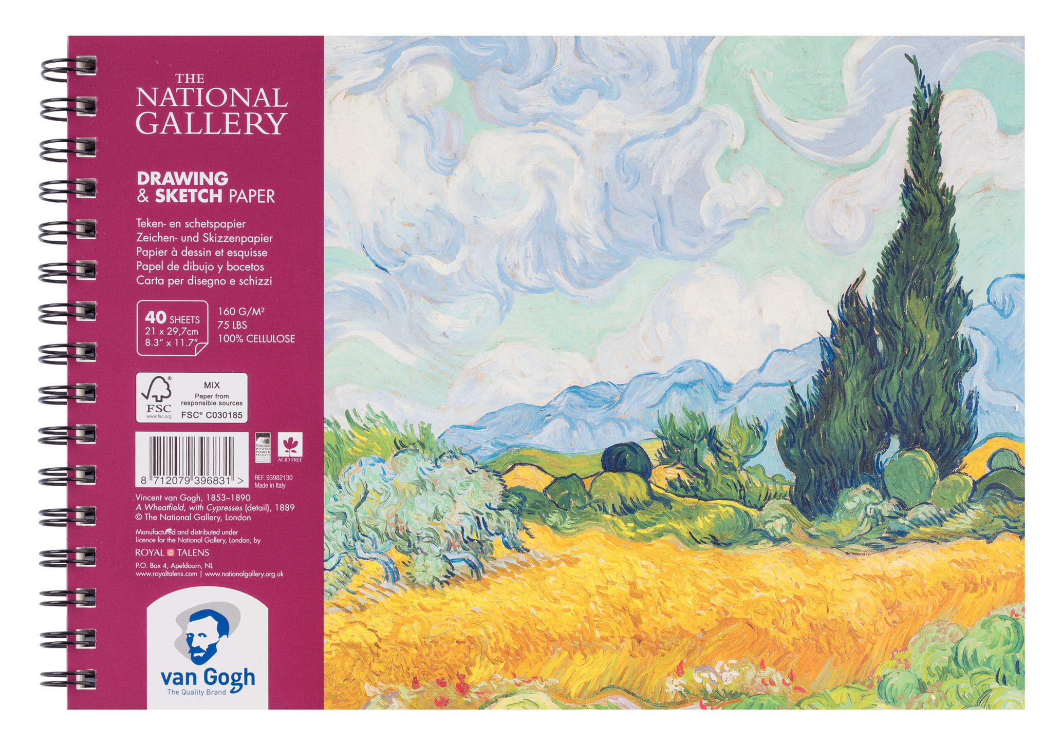 Van Gogh The National Gallery Drawing & Sketch Paper Spiral Bound Pad, 40 Sheets, 160g/75lb., size 29.7 x 21cm (A4) / 8.3 x 11.7