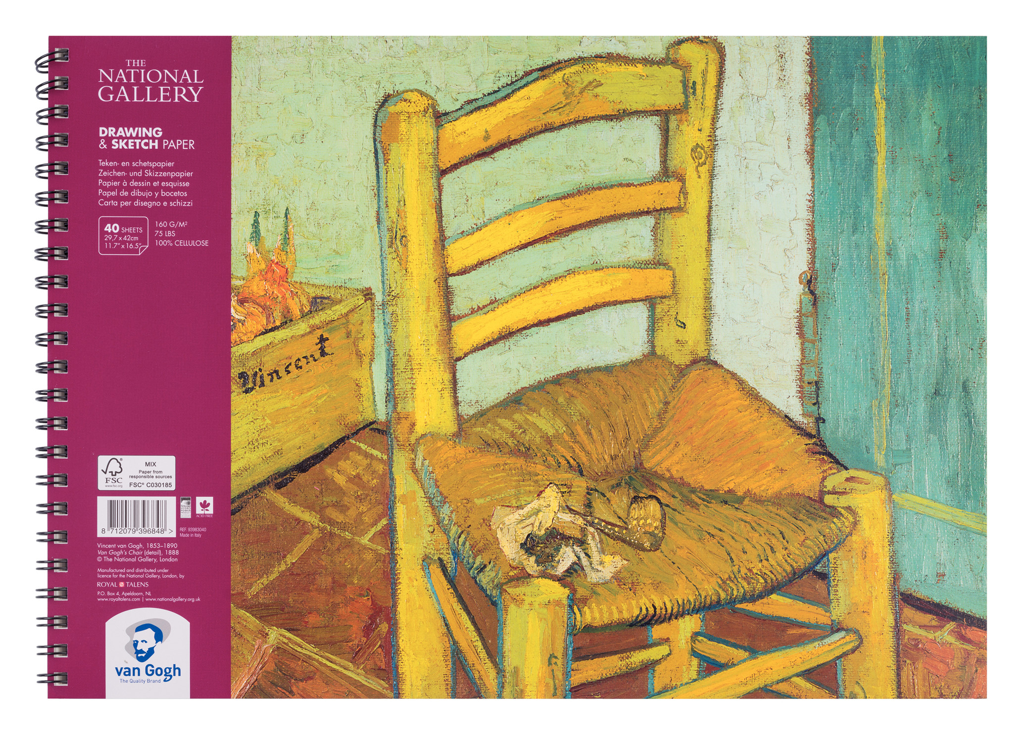 Van Gogh The National Gallery Drawing & Sketch Paper Spiral Bound Pad, 40 Sheets, 160g/75lb., size 42 x 29.7cm (A3) / 11.7 x 16.5