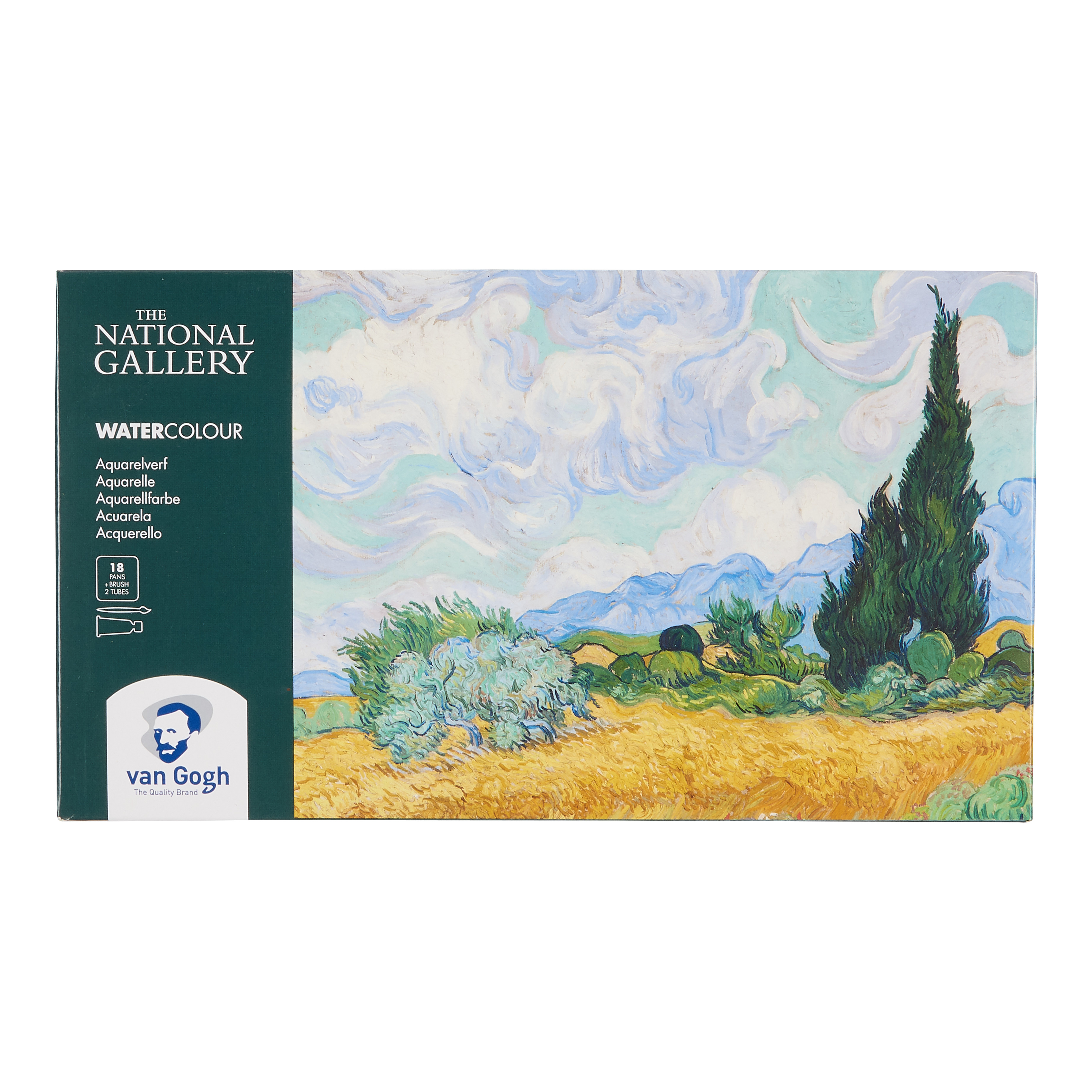 Van Gogh The National Gallery Water Colour Plastic Case Set with 18 Colours in Half Pans and 2 Colours in 10ml Tube