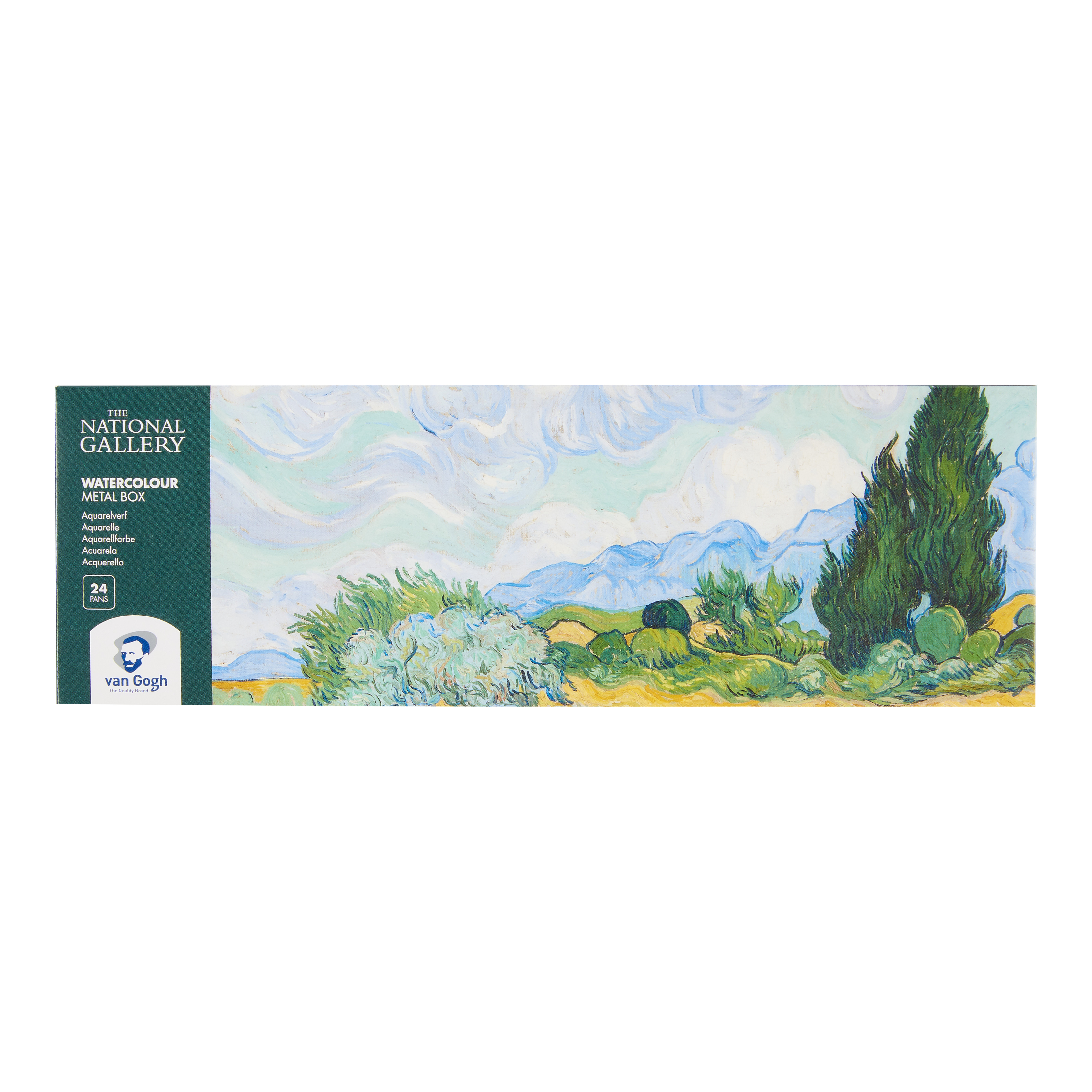 Van Gogh The National Gallery Water Colour Metal Case Set with 24 Colours in Half Pans