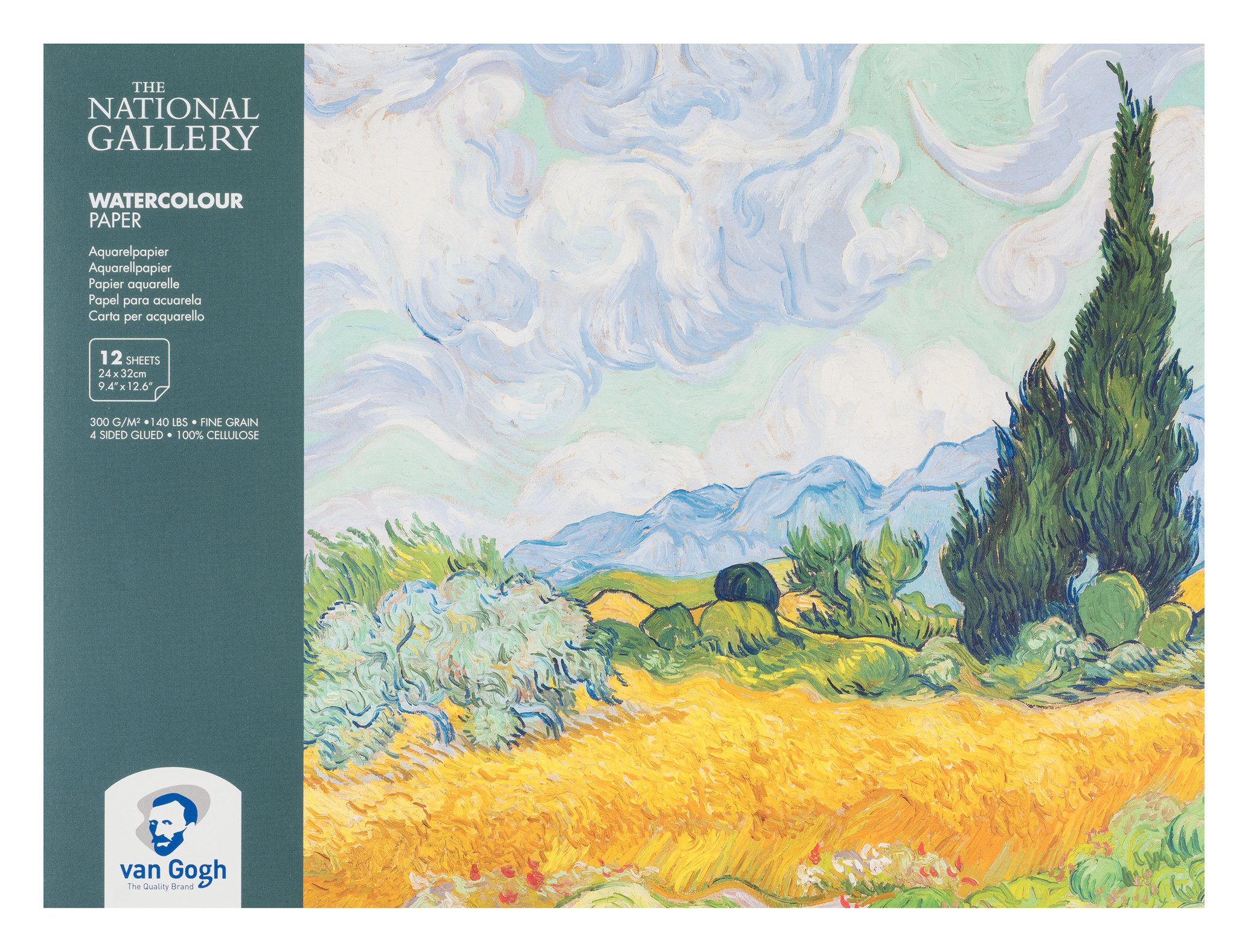 Van Gogh The National Gallery Water Colour Paper Block, 12 Sheets, 300g/140lb., size 24 x 32cm / 9.4 x 12.6