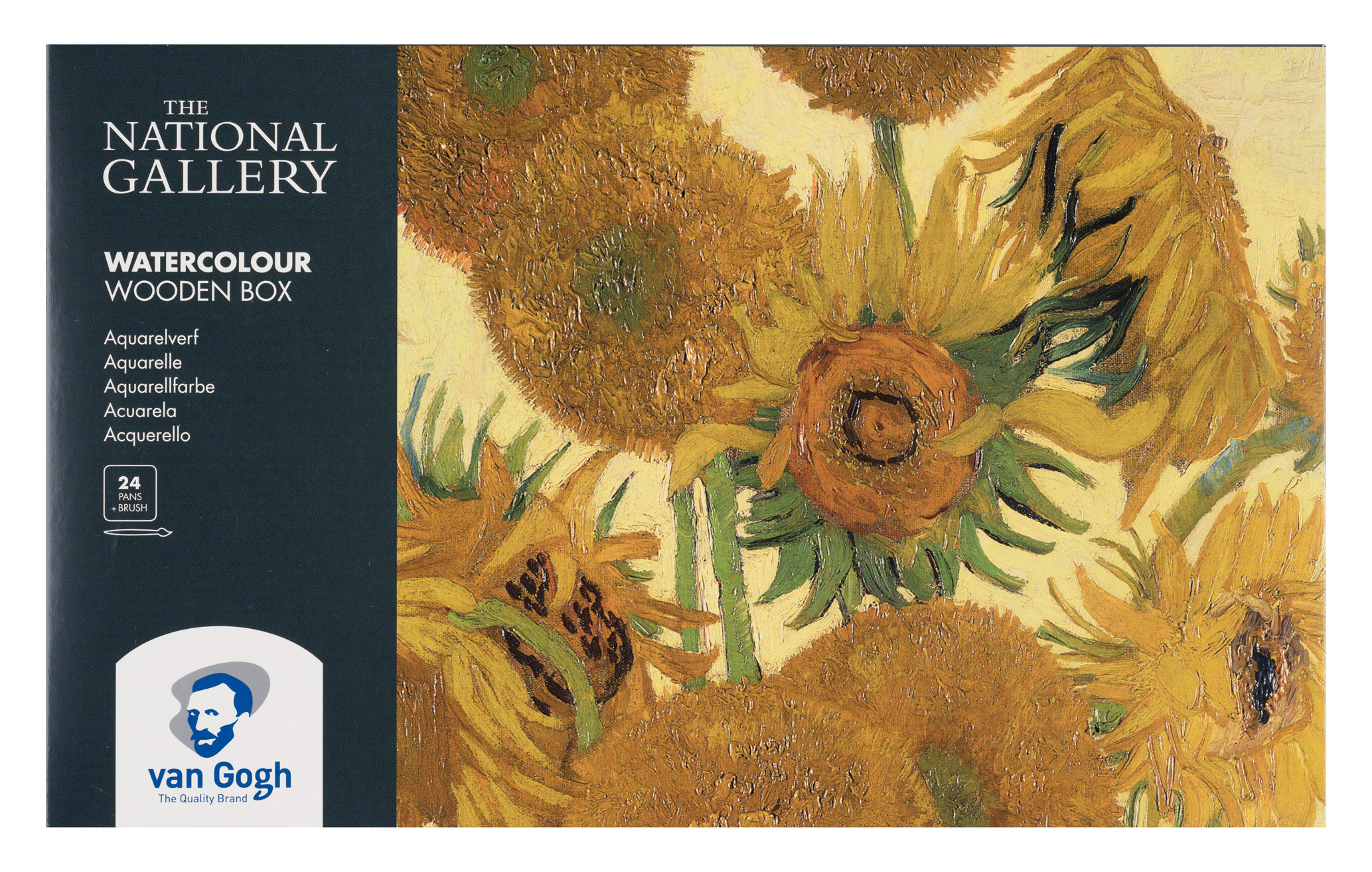 Van Gogh The National Gallery Water Colour Wooden Box Set with 24 Colours in Half Pans + 3 Accessories
