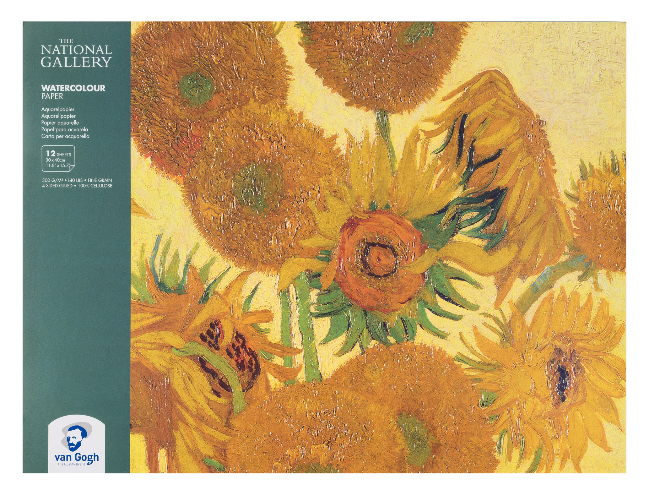 Van Gogh The National Gallery Water Colour Paper Block, 12 Sheets, 300g/140lb., size 30 x 40cm / 11.8 x 15.7