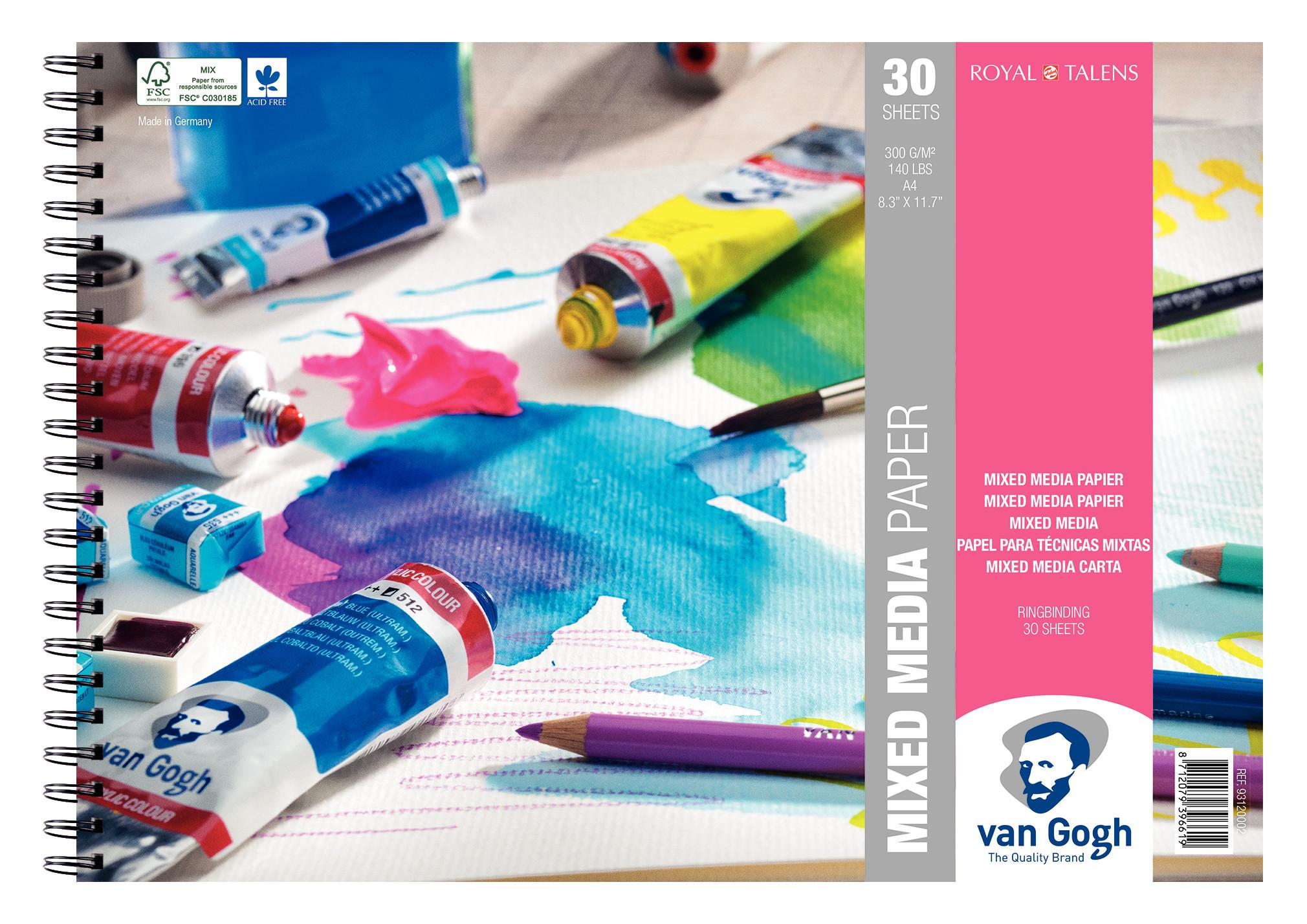 Van Gogh Mixed Media Paper Spiral Bound Pad, 30 Sheets, 300g/140lb., size 29.7 x 21cm (A4) / 8.3 x 11.7