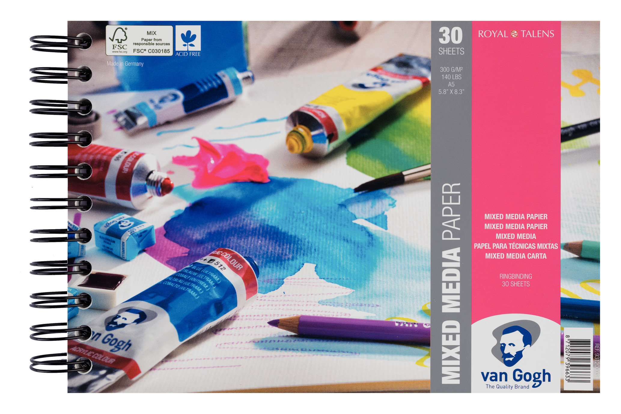 Van Gogh Mixed Media Paper Spiral Bound Pad, 30 Sheets, 300g/140lb., size 21 x 14,8cm (A5) / 5.8 x 8.3