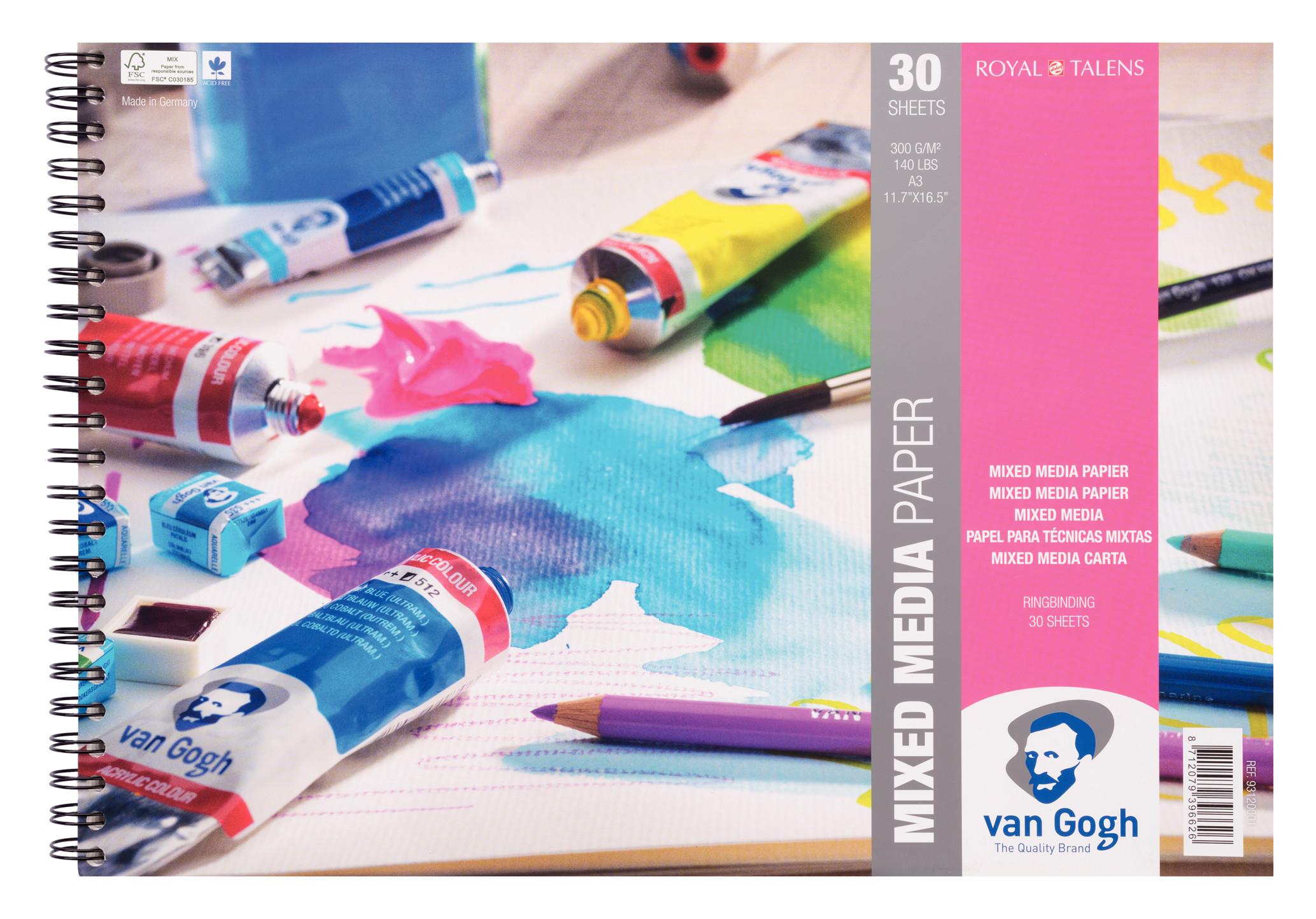 Van Gogh Mixed Media Paper Spiral Bound Pad, 30 Sheets, 300g/140lb., size 42 x 29.7cm (A3) / 11.7 x 16.5