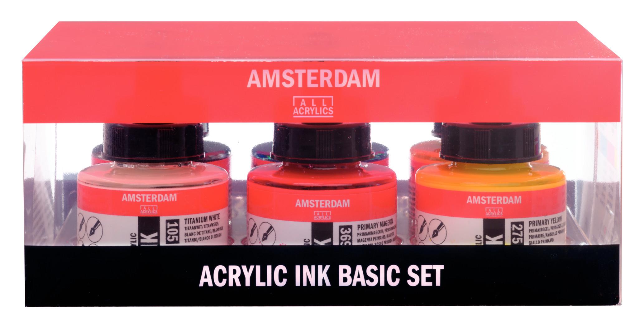 Amsterdam Acrylic Ink Basic Set - 6 x 30 ml