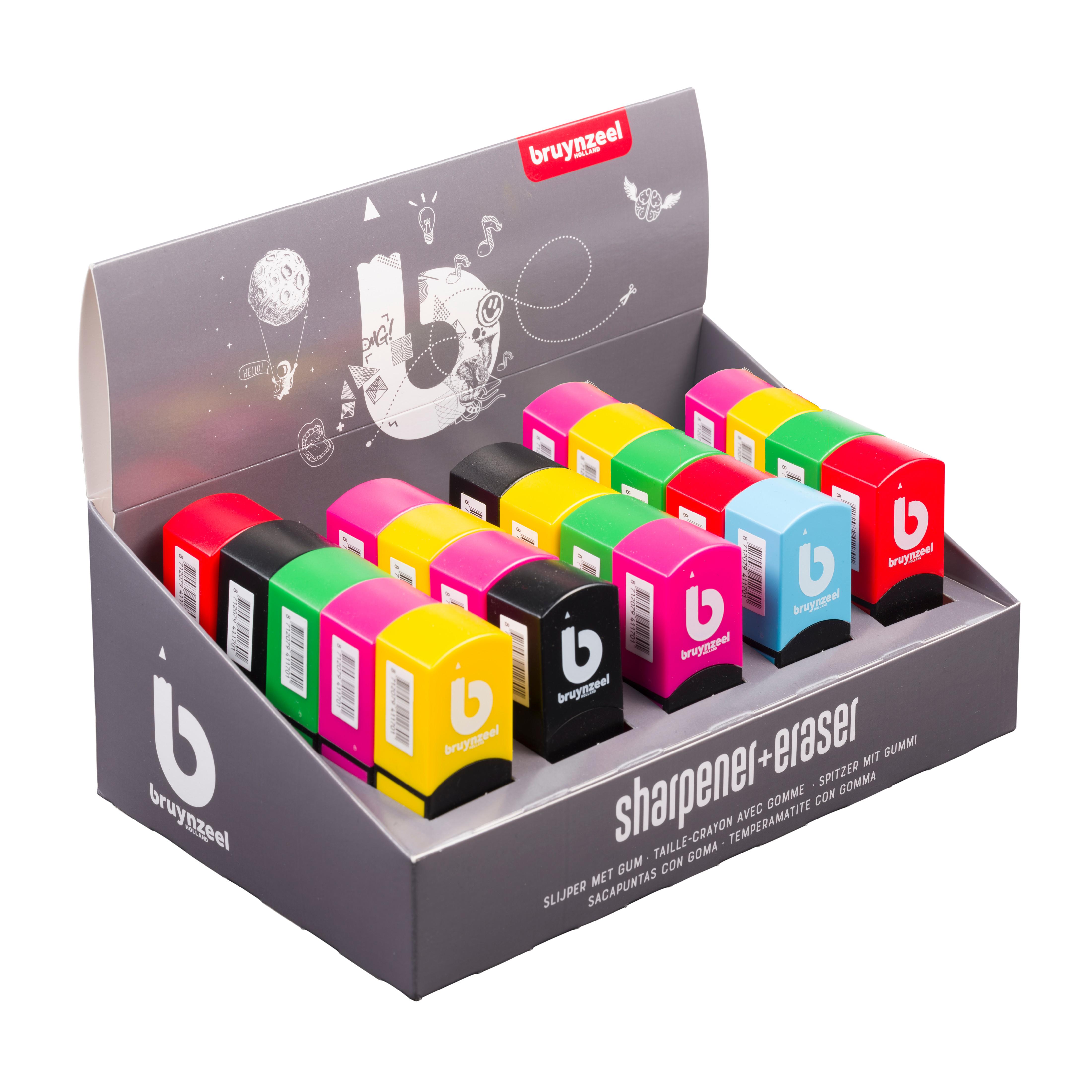 Bruynzeel Sharpener-Eraser Display 25