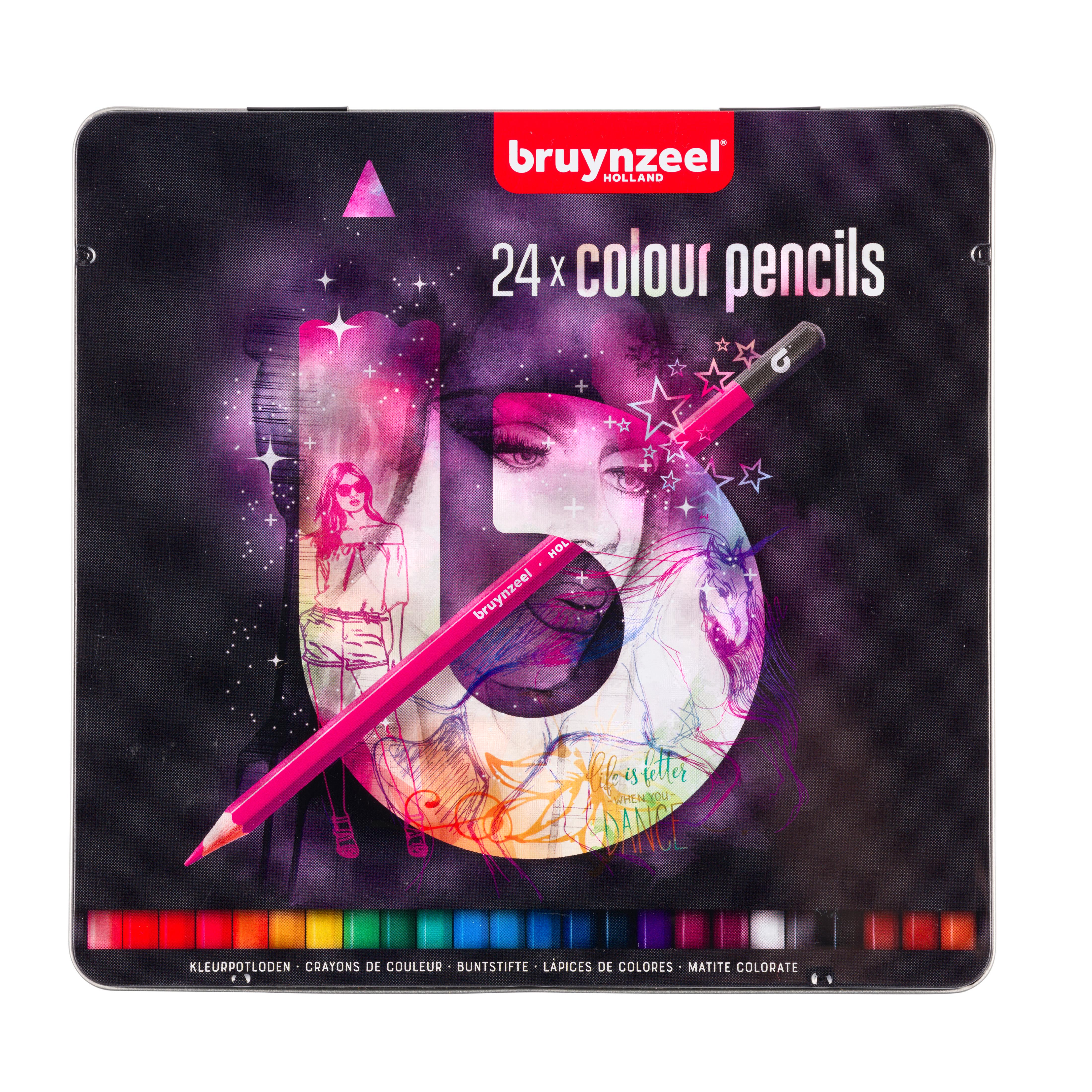 Bruynzeel Tin 24 Colour Pencils Light