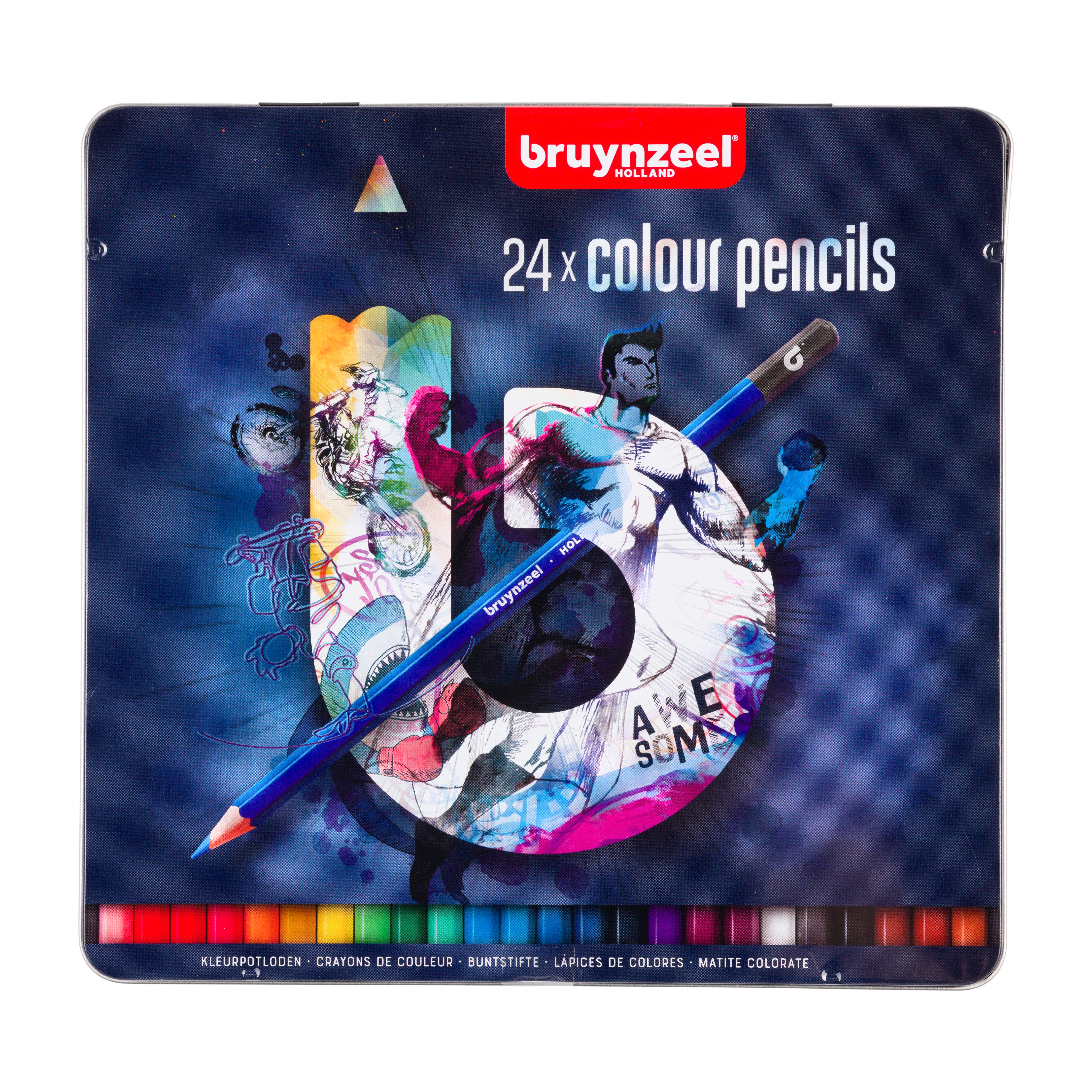 Bruynzeel Tin 24 Colour Pencils Dark