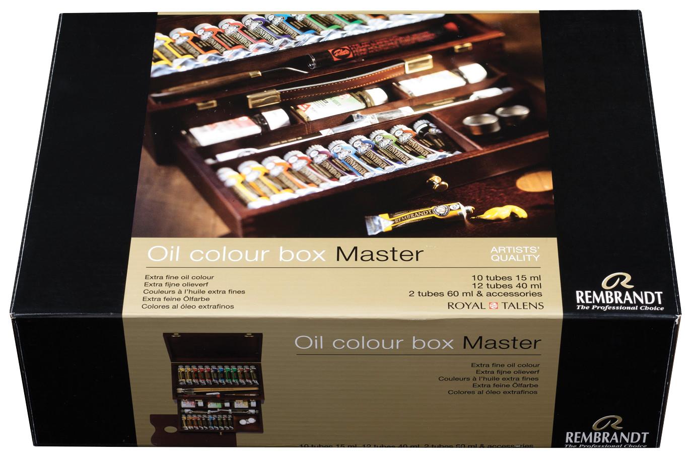 Rembrandt Oil colour Paint Master Wood Box Set, 10x15ml Tubes + 12x40ml Tubes + 2x60ml Tubes + 13 Accessories
