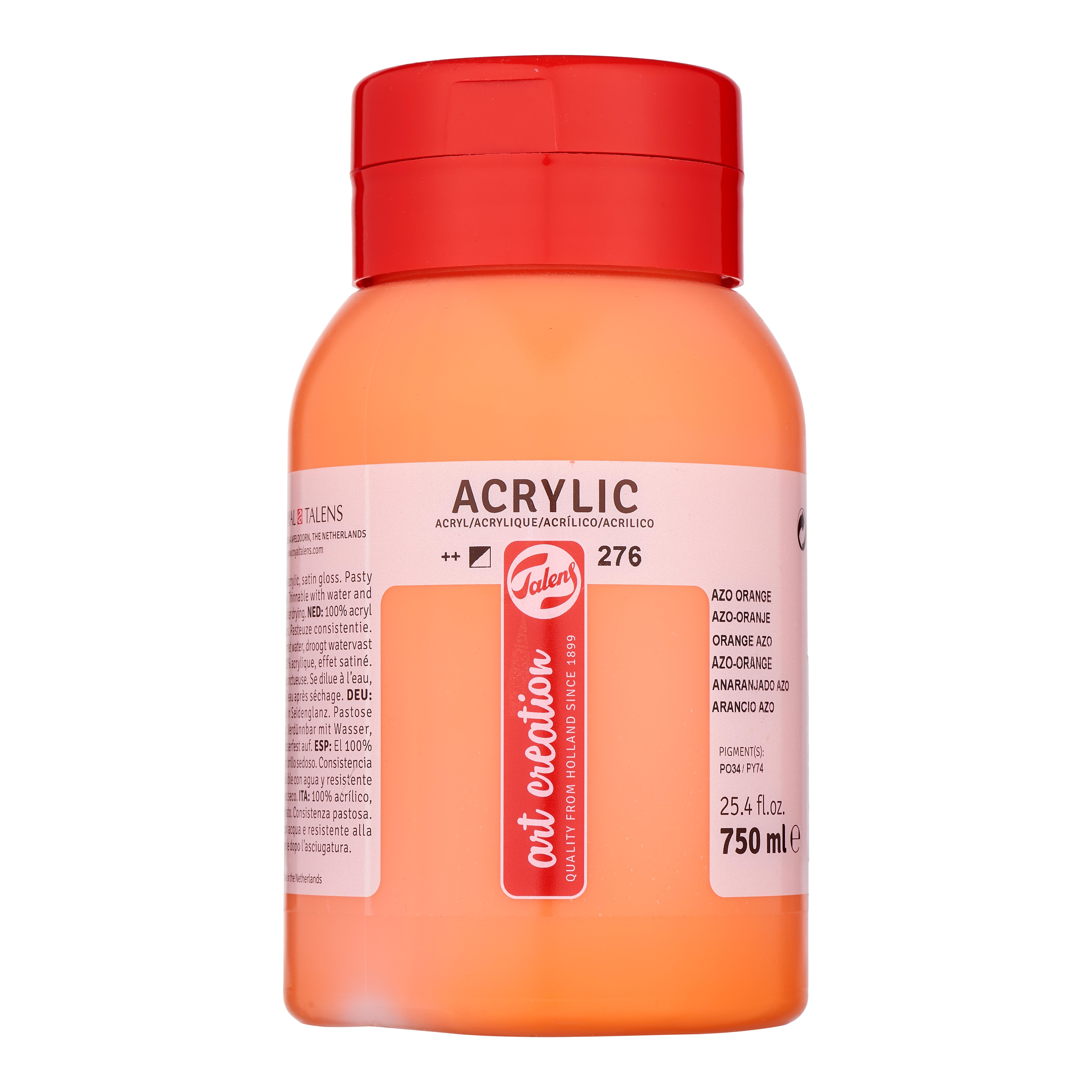 Talens Art Creation Acrylic Colour Bottle 750 ml Azo Orange 276