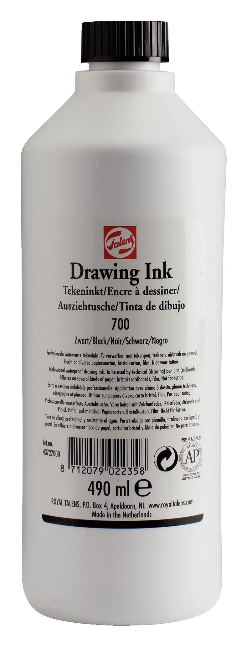Waterproof Talens Drawing Ink Bottle 490 ml Black 700