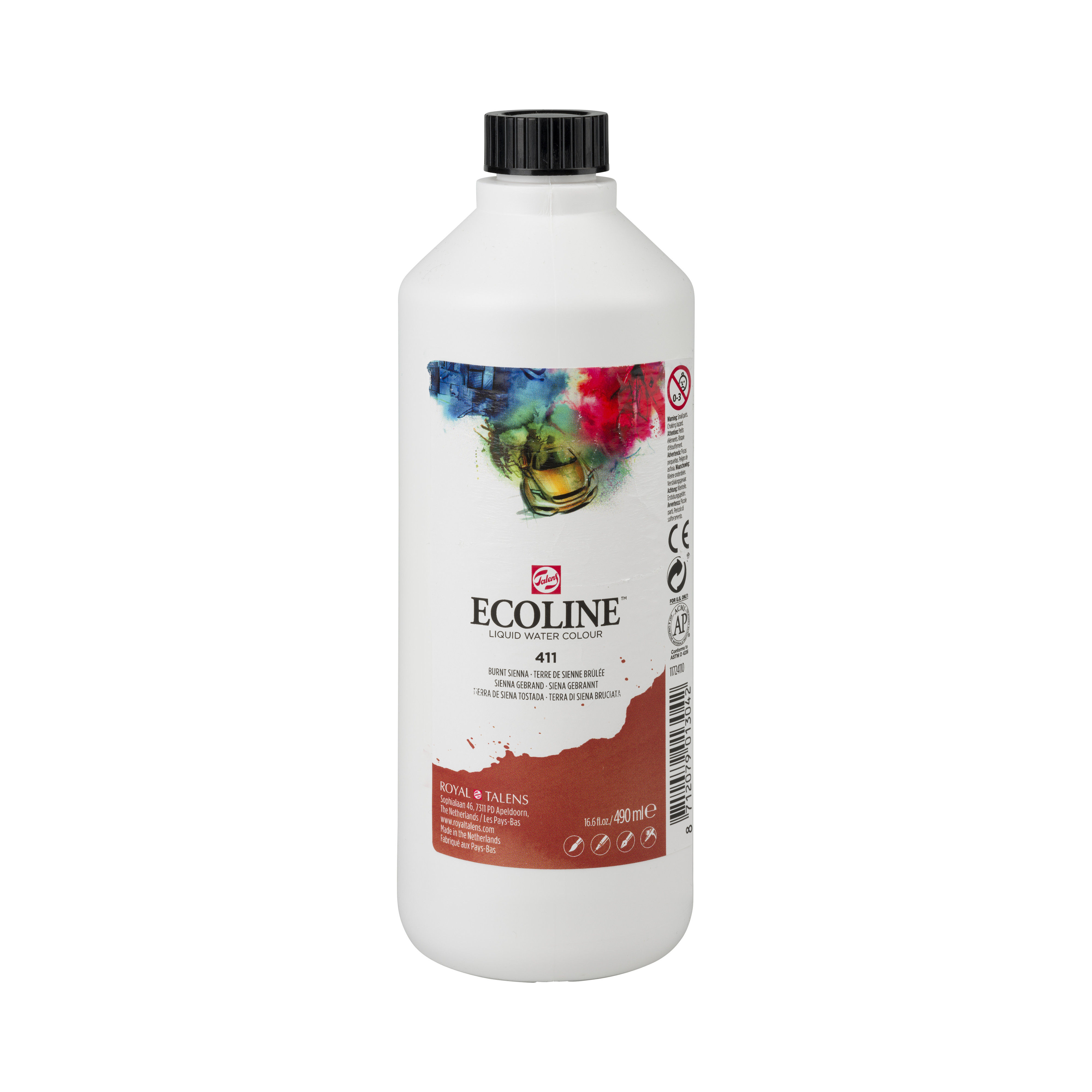 Ecoline Liquid Watercolour Plastic Bottle 490 ml Burnt Sienna 411