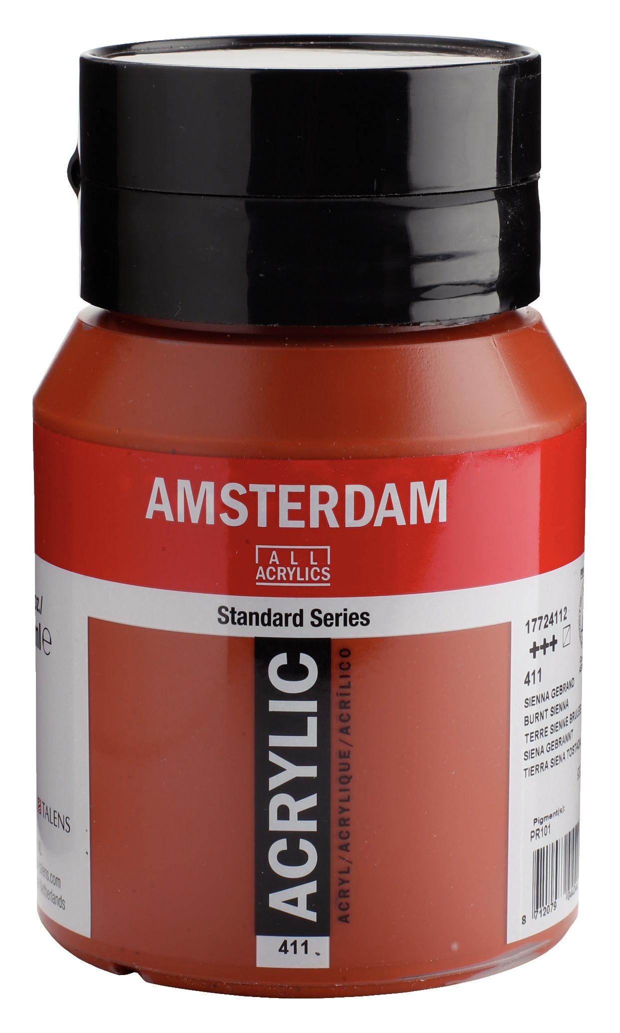 Amsterdam Standard Series Acrylic Jar 500 ml Burnt sienna 411