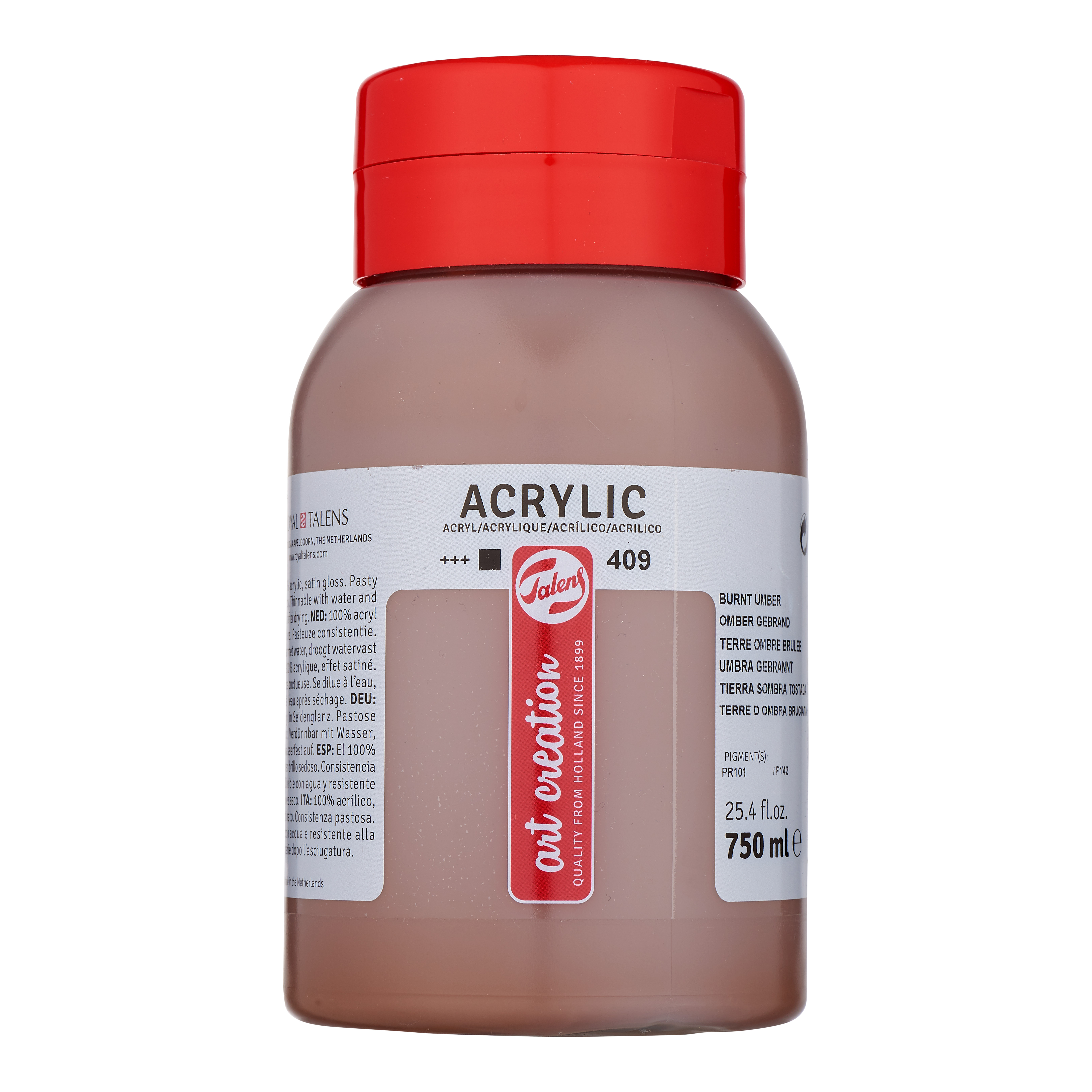 Talens Art Creation Acrylic Colour Bottle 750 ml Burnt Umber 409