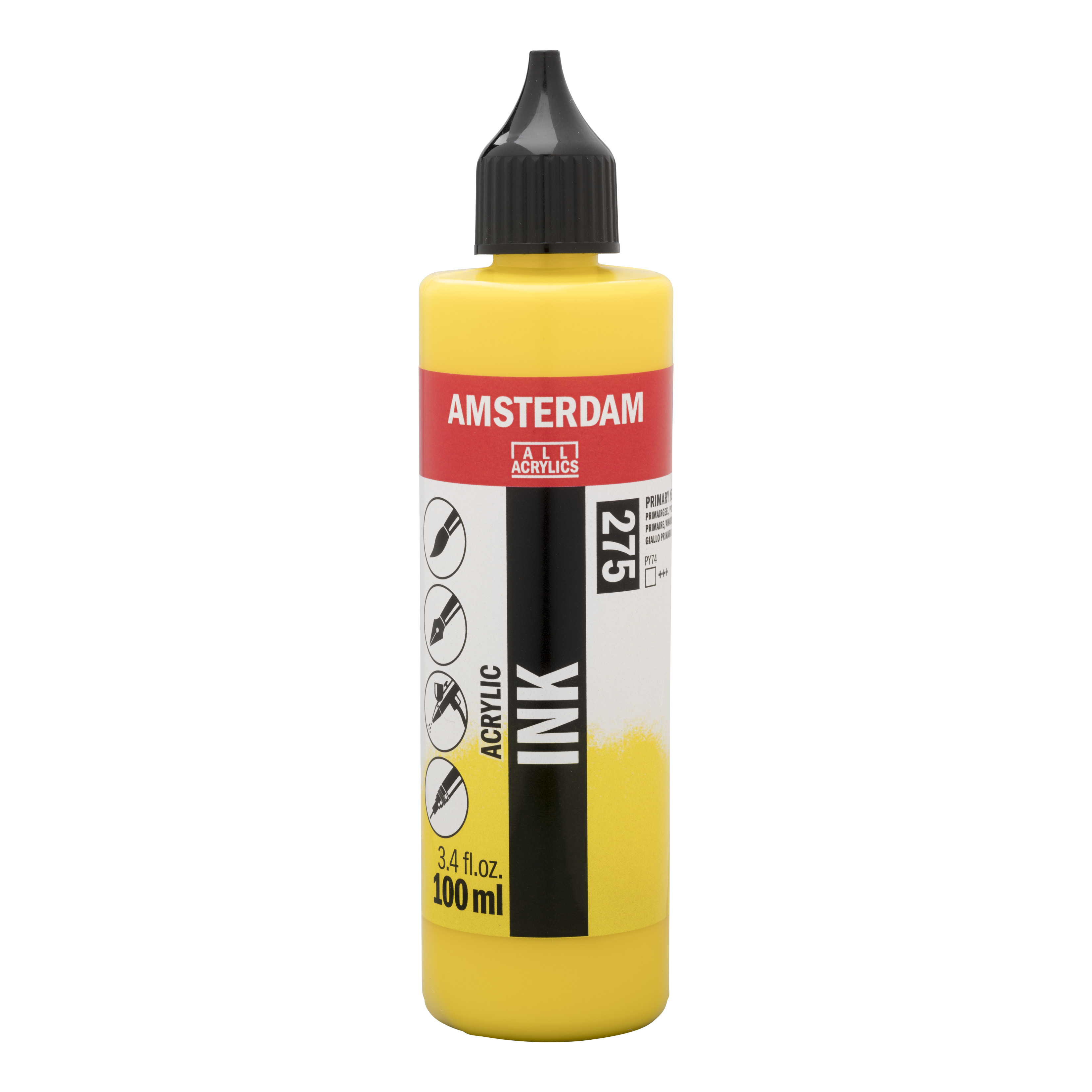 Amsterdam Acrylic Ink Bottle 100 ml Primary Yellow 275